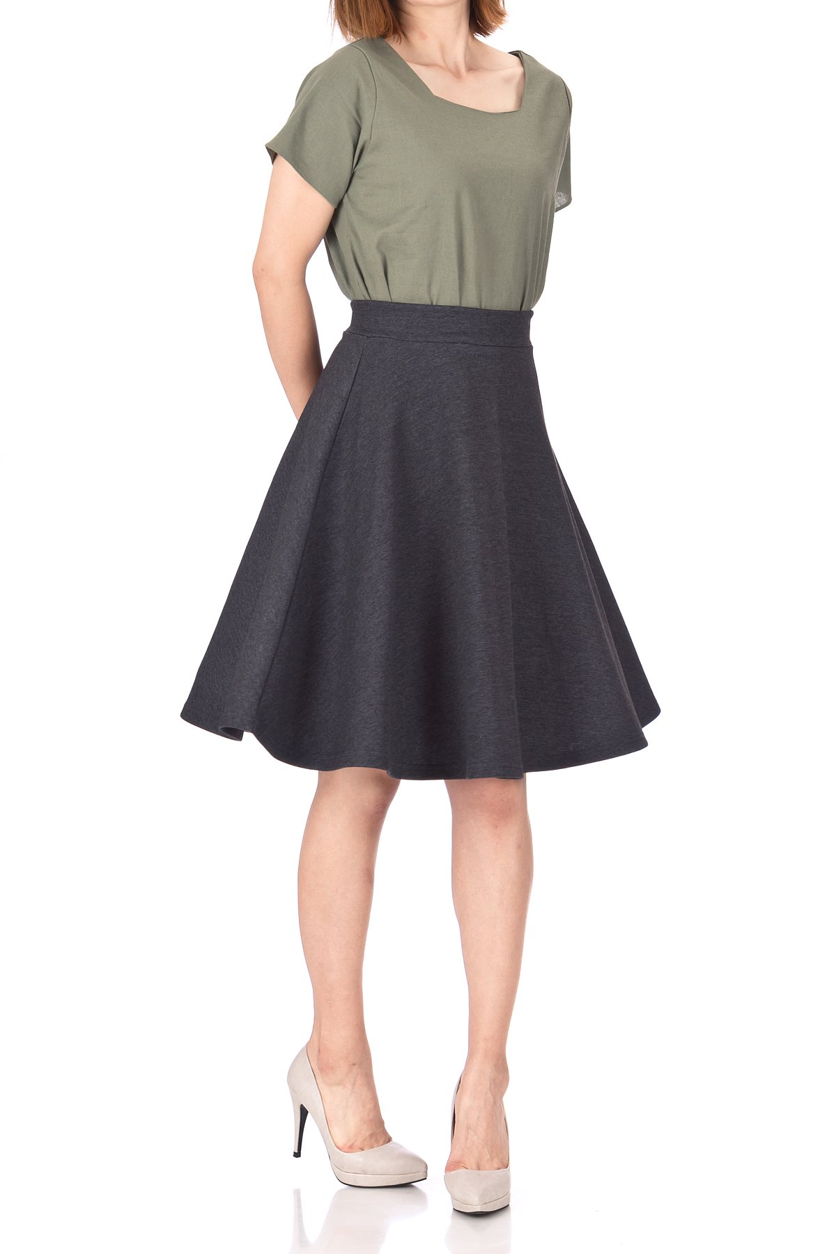 Comfy and Lovely Cotton Blend Versatile Casual Office High Waist A line Full Flared Swing Circle Skater Knee Length Skirt Charcoal 01 1