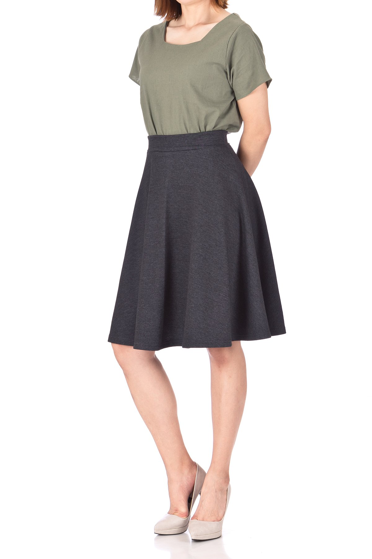 Comfy and Lovely Cotton Blend Versatile Casual Office High Waist A line Full Flared Swing Circle Skater Knee Length Skirt Charcoal 02