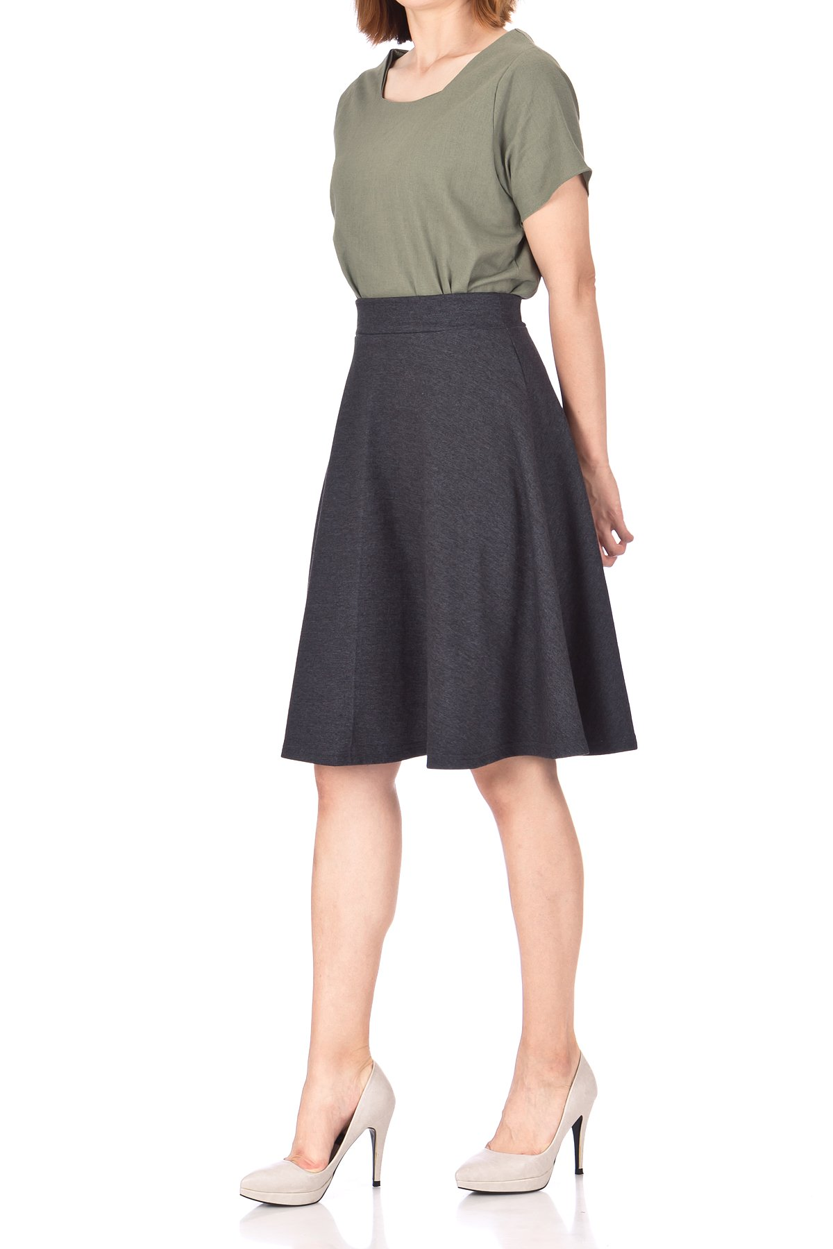 Comfy and Lovely Cotton Blend Versatile Casual Office High Waist A line Full Flared Swing Circle Skater Knee Length Skirt Charcoal 04 1