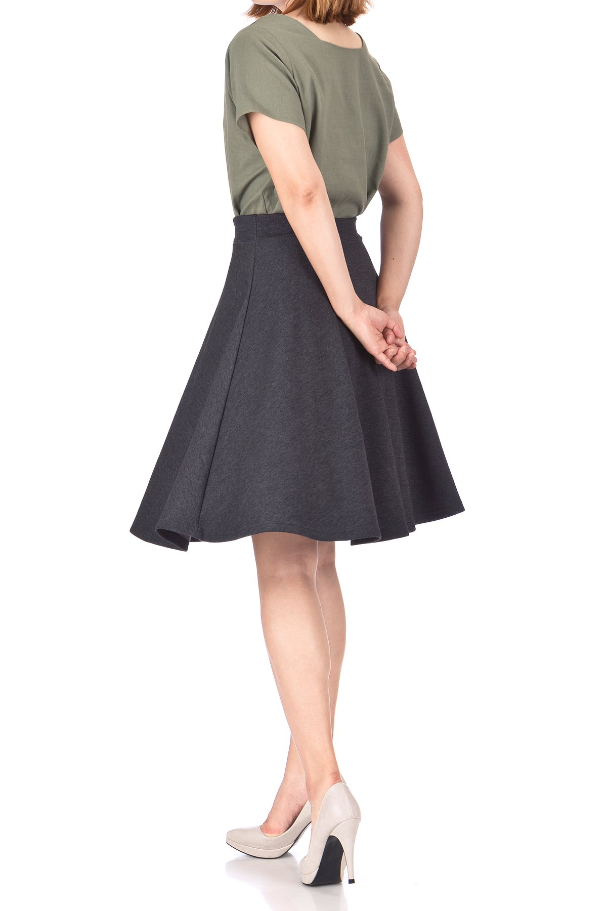 Comfy and Lovely Cotton Blend Versatile Casual Office High Waist A line Full Flared Swing Circle Skater Knee Length Skirt Charcoal 05