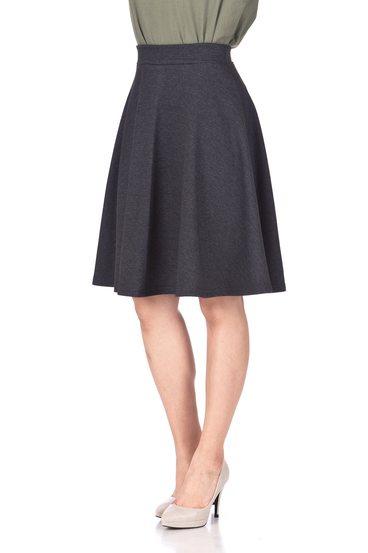Comfy and Lovely Cotton Blend Versatile Casual Office High Waist A line Full Flared Swing Circle Skater Knee Length Skirt Charcoal 06