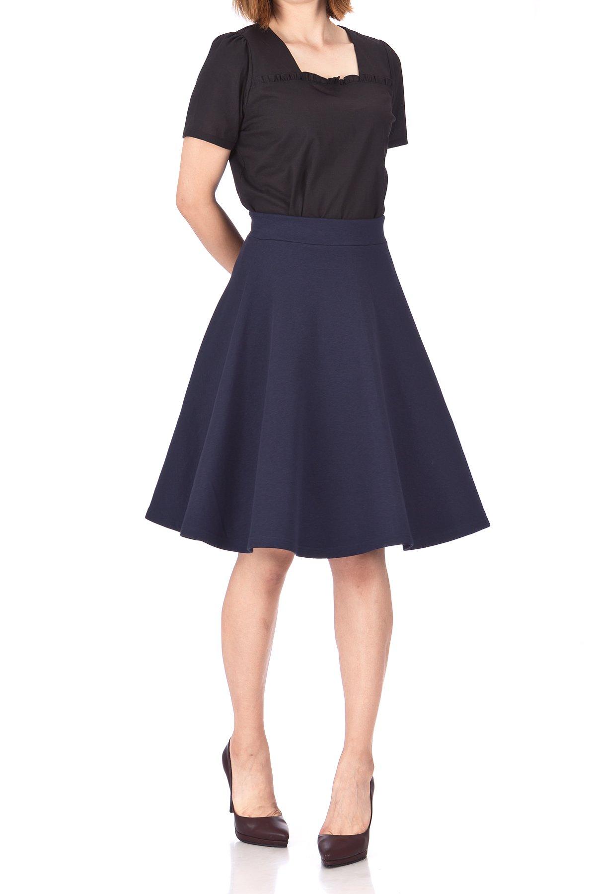 Comfy and Lovely Cotton Blend Versatile Casual Office High Waist A line Full Flared Swing Circle Skater Knee Length Skirt Navy 01