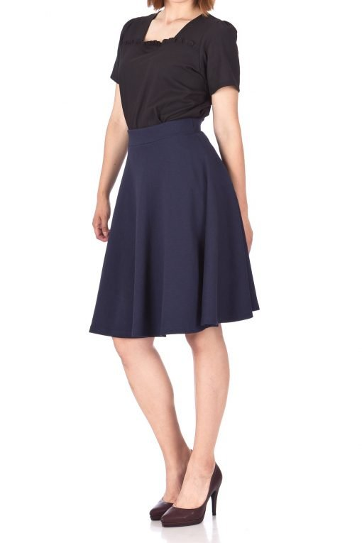 Comfy and Lovely Cotton Blend Versatile Casual Office High Waist A line Full Flared Swing Circle Skater Knee Length Skirt Navy 02 1