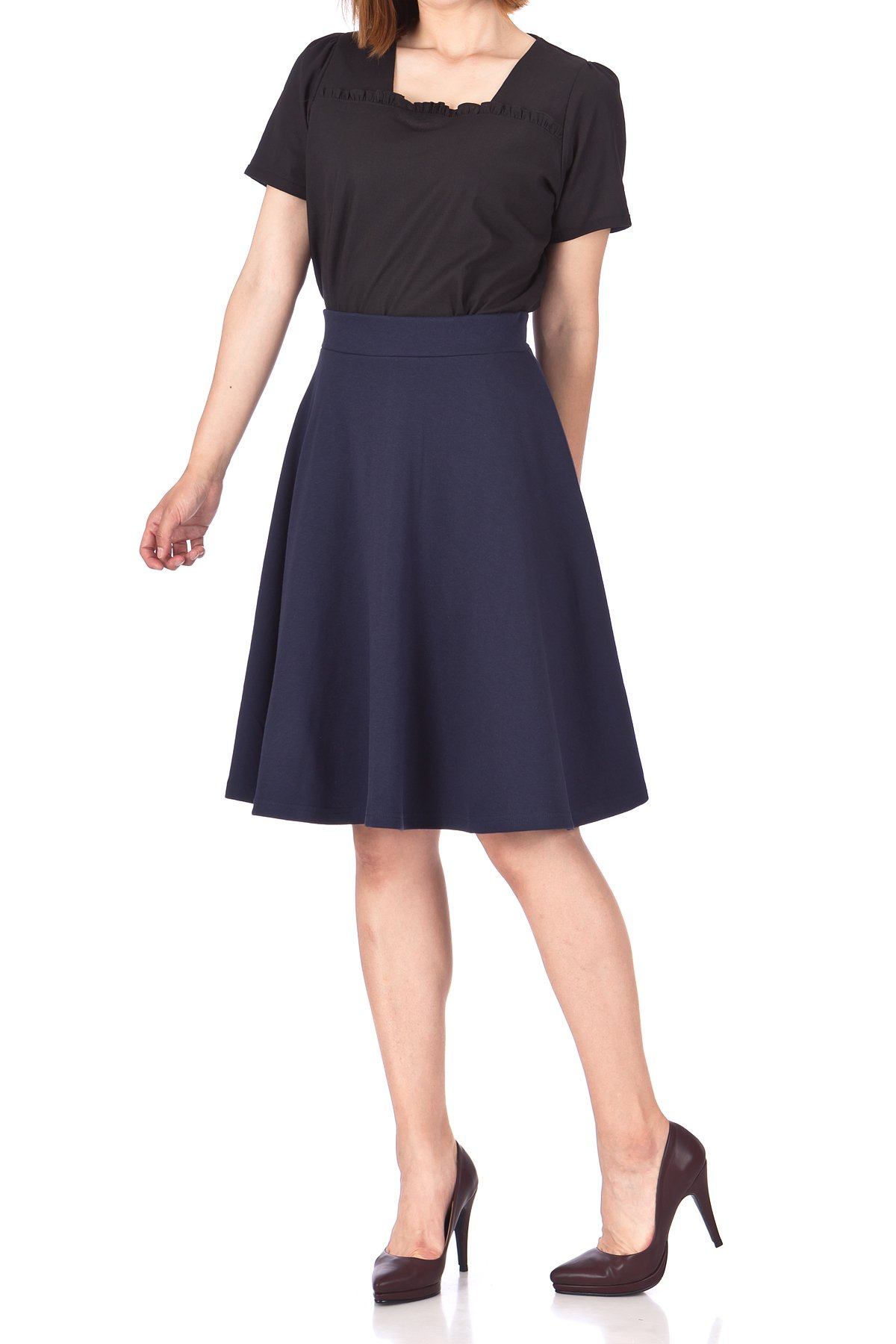 Comfy and Lovely Cotton Blend Versatile Casual Office High Waist A line Full Flared Swing Circle Skater Knee Length Skirt Navy 03