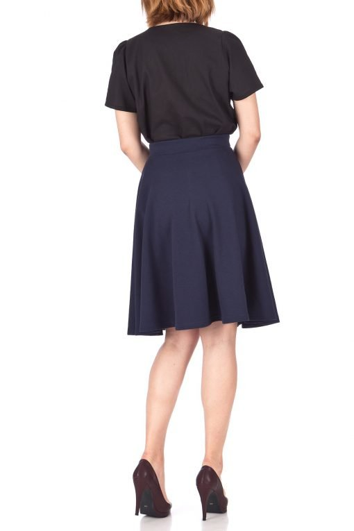 Comfy and Lovely Cotton Blend Versatile Casual Office High Waist A line Full Flared Swing Circle Skater Knee Length Skirt Navy 04 1