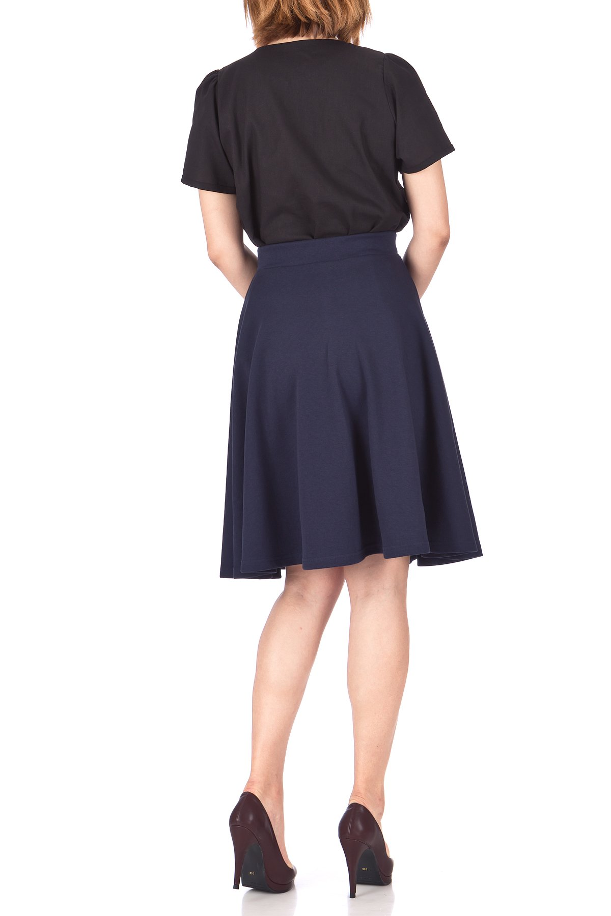 Comfy and Lovely Cotton Blend Versatile Casual Office High Waist A line Full Flared Swing Circle Skater Knee Length Skirt Navy 04