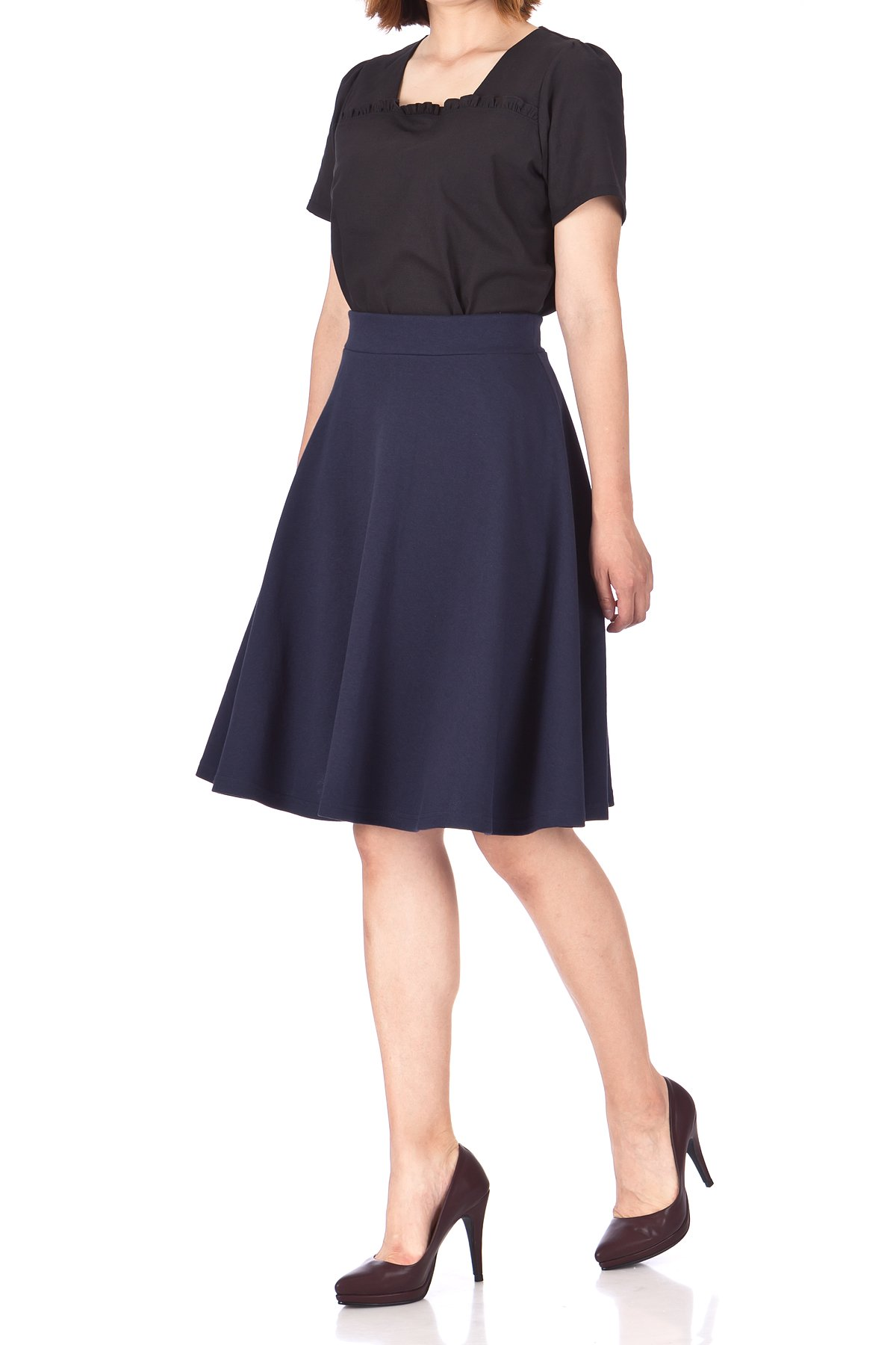 Comfy and Lovely Cotton Blend Versatile Casual Office High Waist A line Full Flared Swing Circle Skater Knee Length Skirt Navy 05