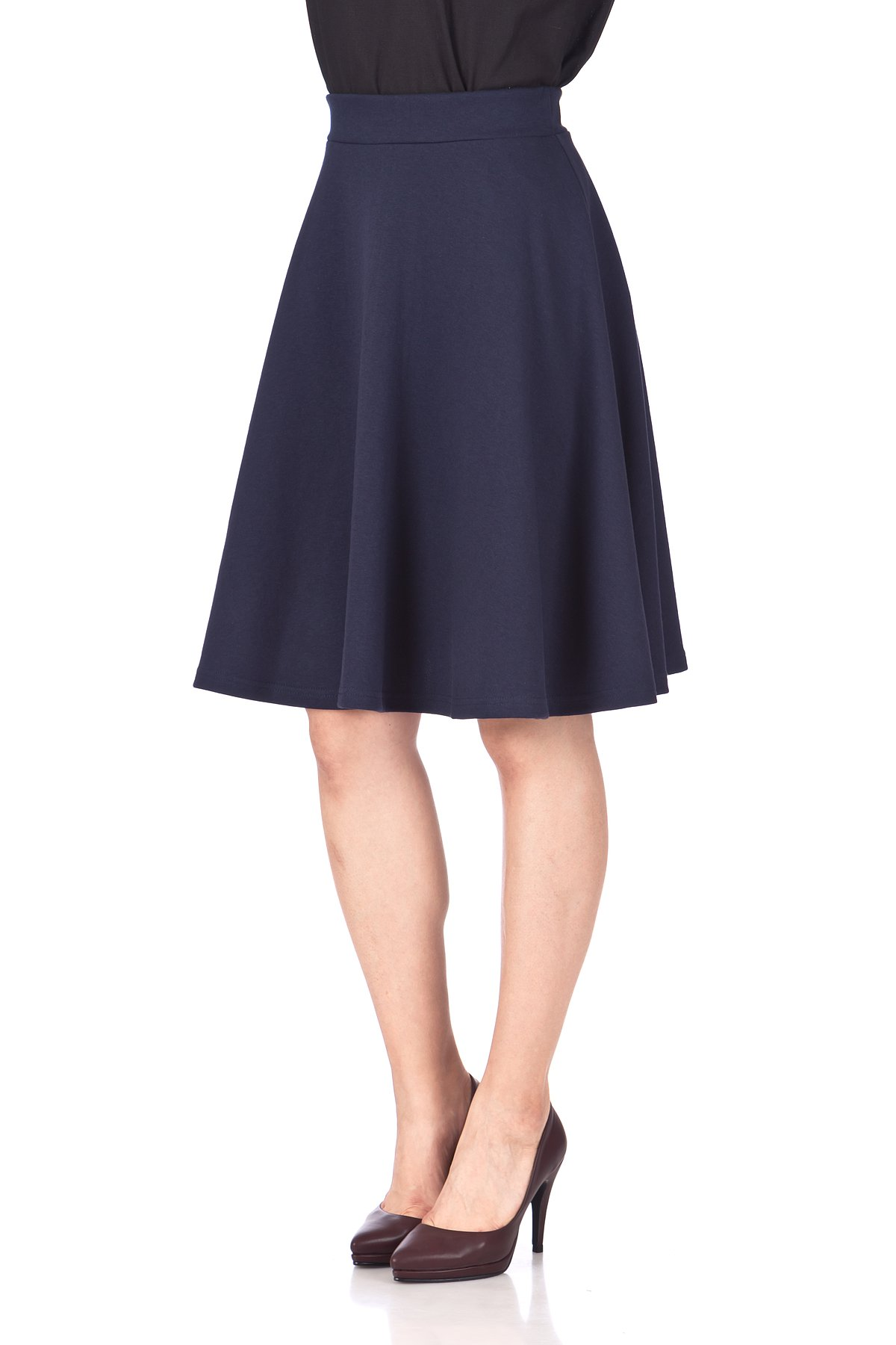 Comfy and Lovely Cotton Blend Versatile Casual Office High Waist A line Full Flared Swing Circle Skater Knee Length Skirt Navy 06