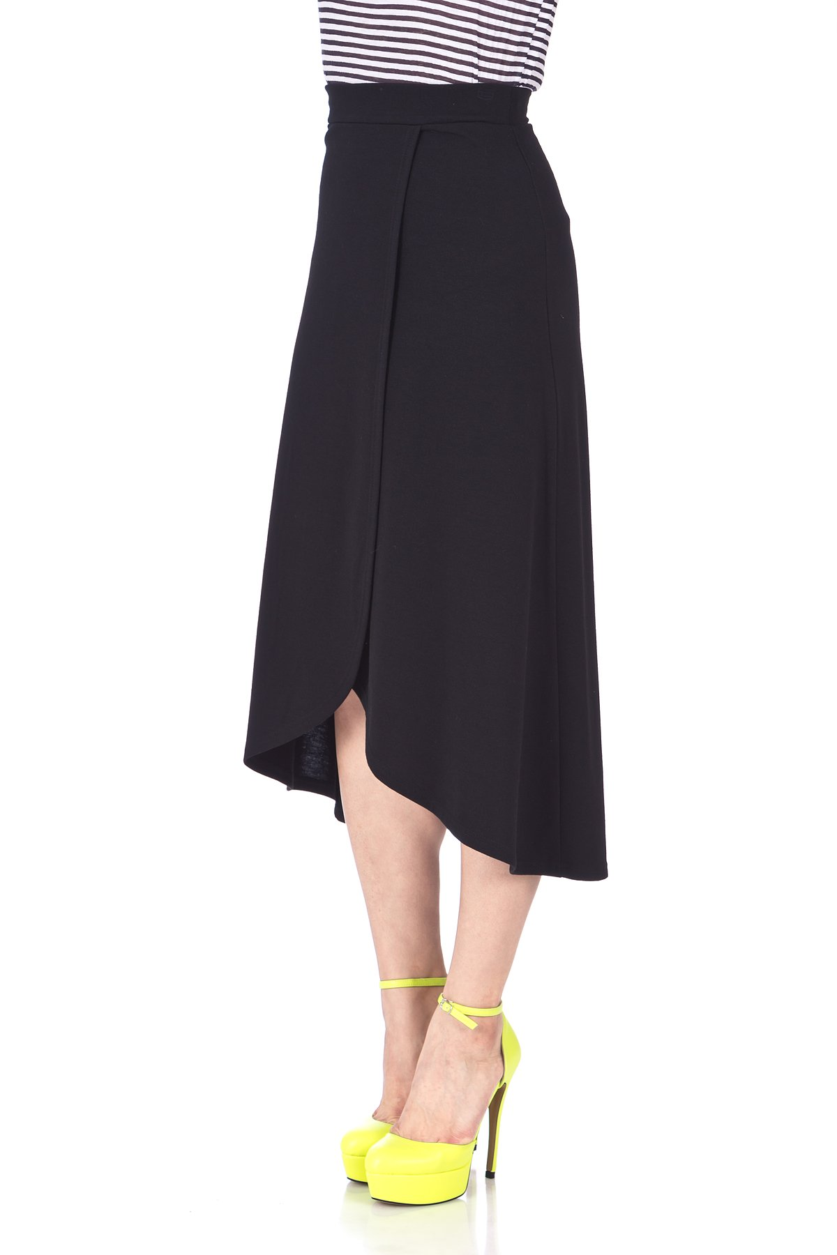 Easy Chic Wrap Style Full Flared Skater Swing Midi Long Maxi Skirt Black 05