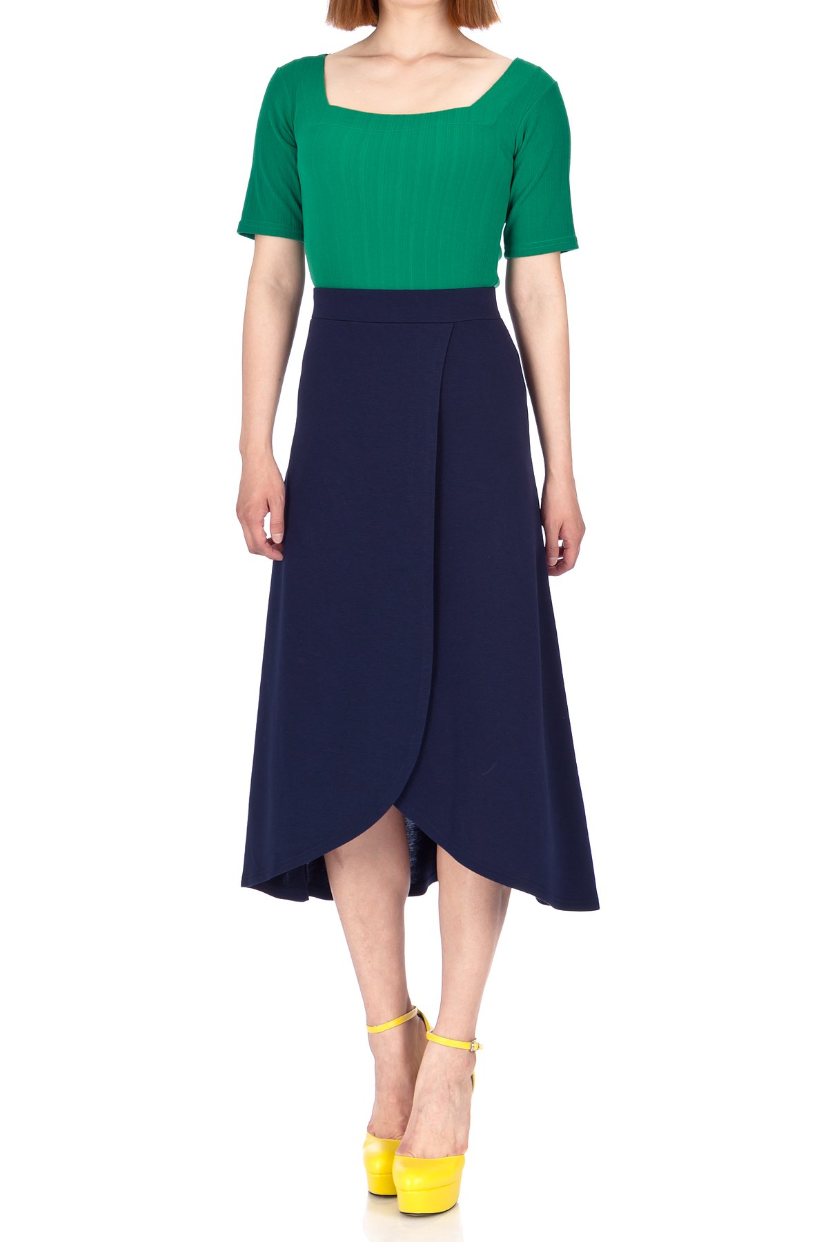 Easy Chic Wrap Style Full Flared Skater Swing Midi Long Maxi Skirt Navy 01