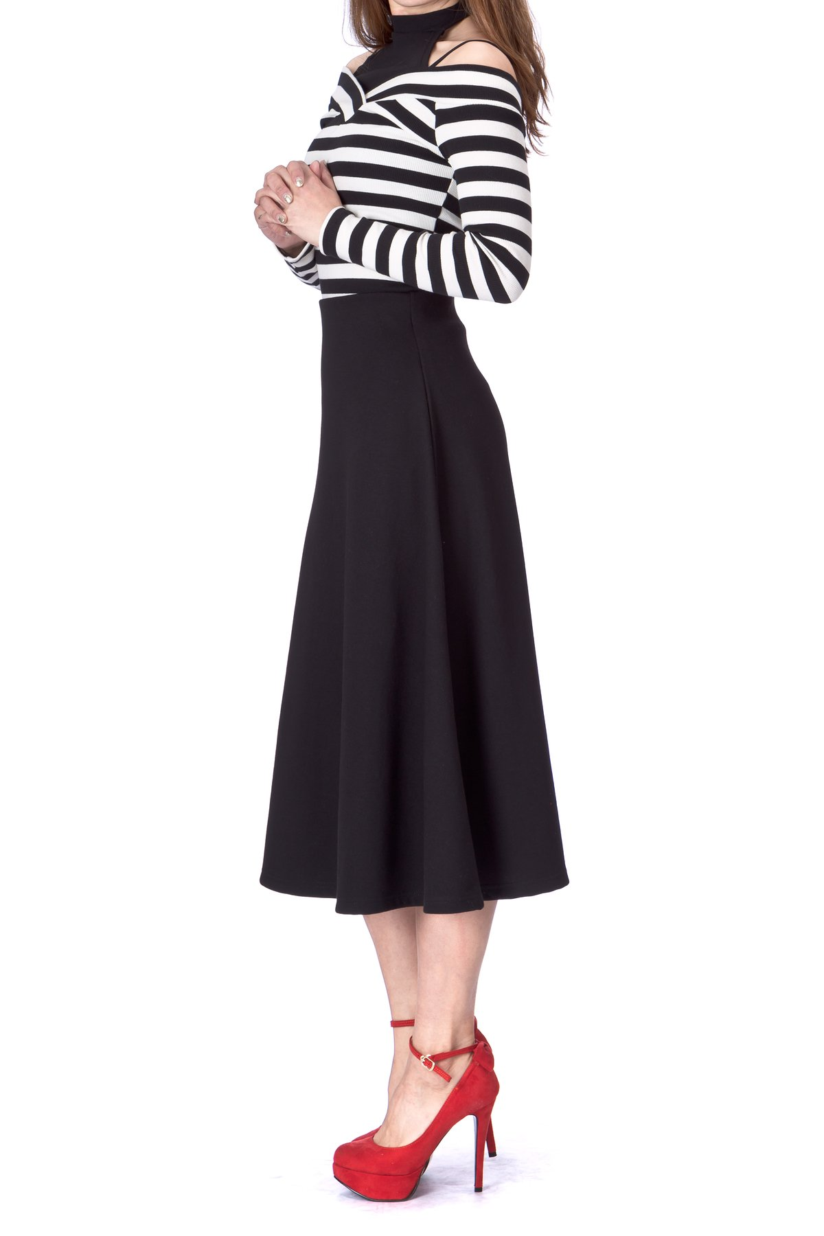 Elastic Waist A line Flared Long Skirt Black 02