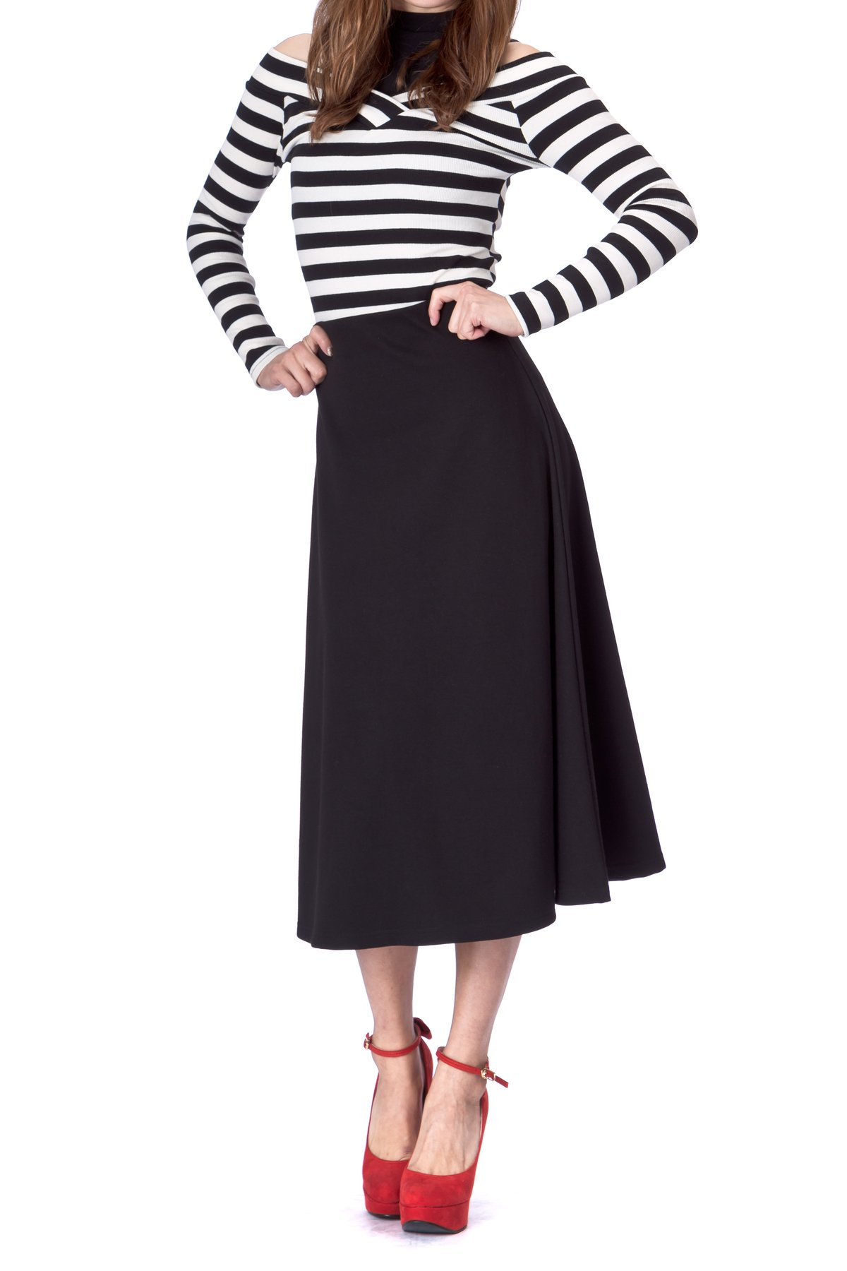 Elastic Waist A line Flared Long Skirt Black 03