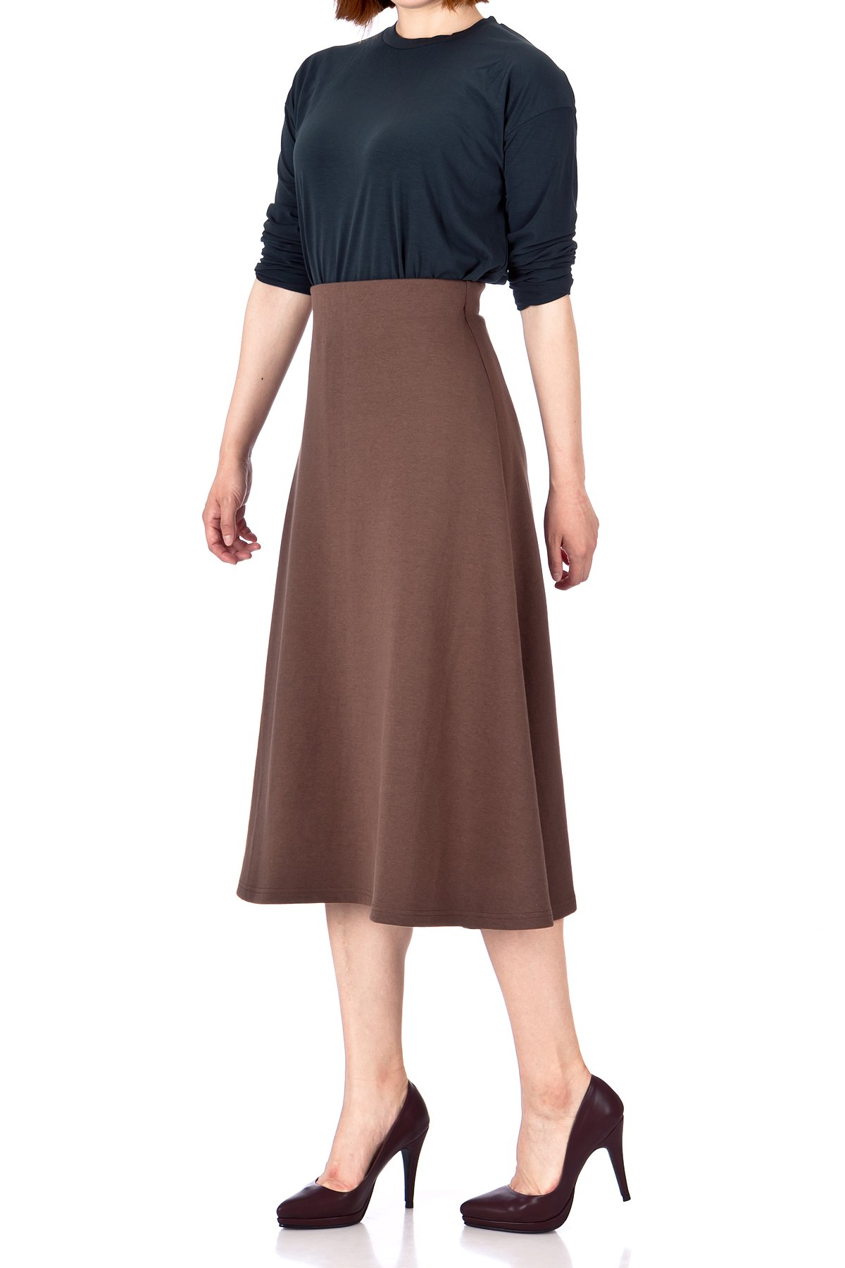 Elastic Waist A line Flared Long Skirt Brown 02