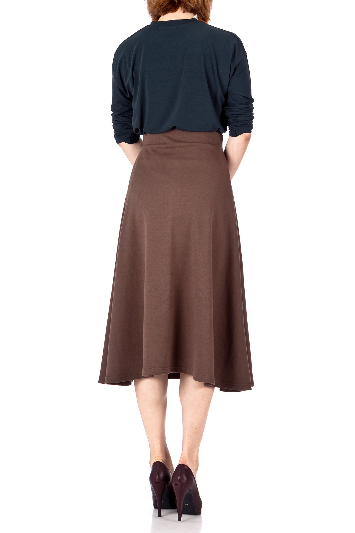 Elastic Waist A line Flared Long Skirt Brown 03
