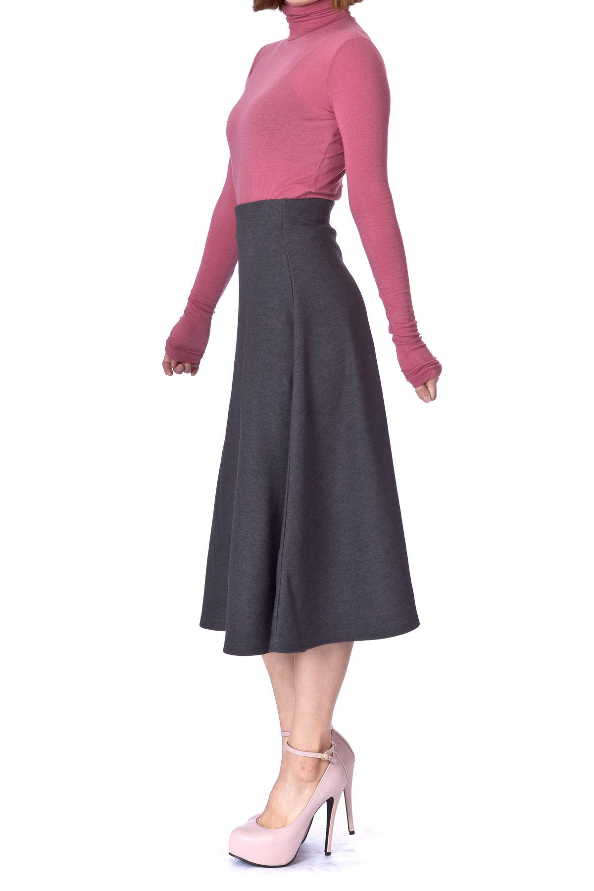 Elastic Waist A line Flared Long Skirt Charcoal 02