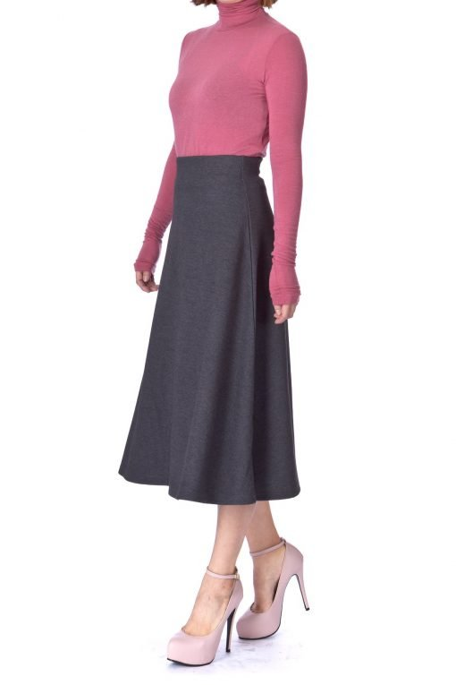 Elastic Waist A line Flared Long Skirt Charcoal 04 1