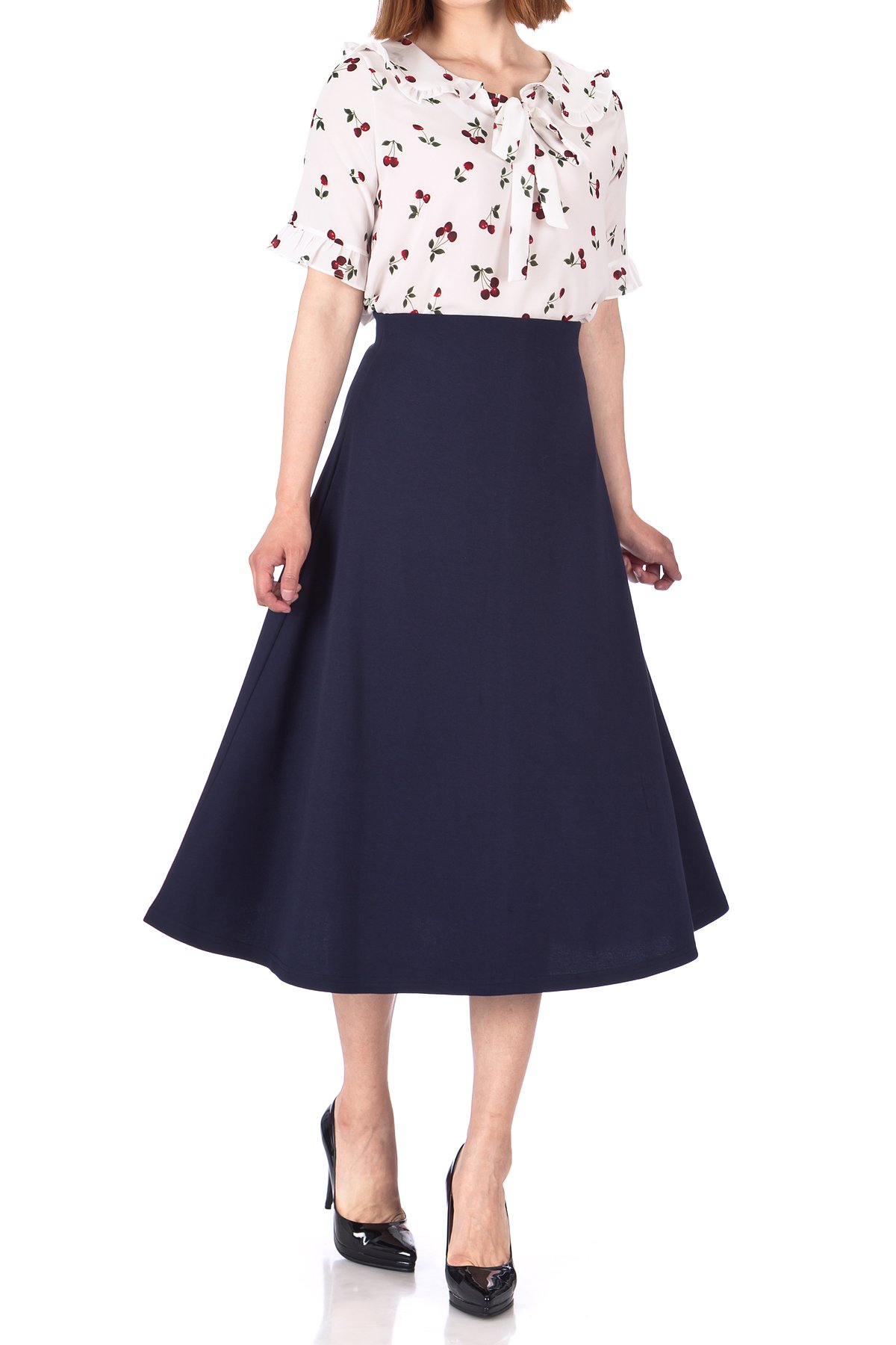Elastic Waist A line Flared Long Skirt Navy 01 1