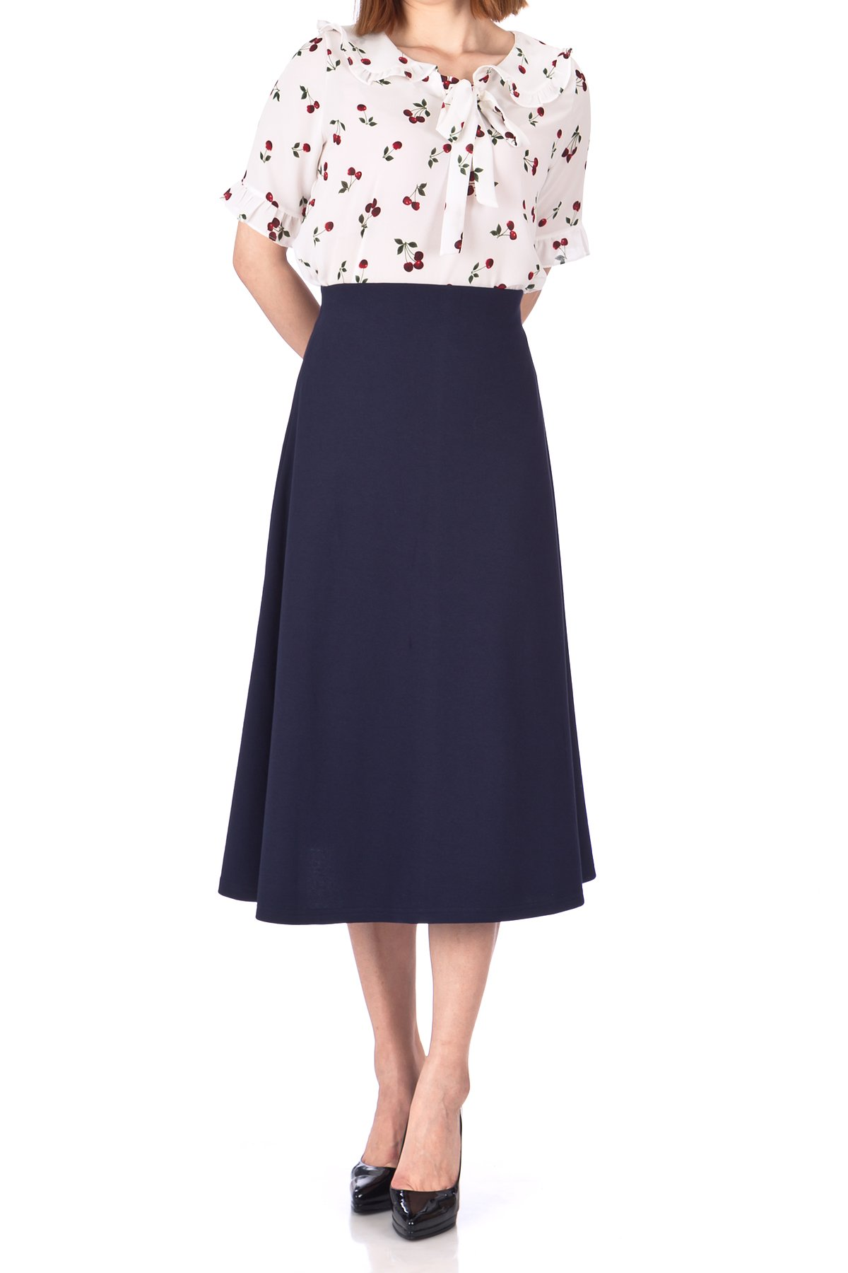 Elastic Waist A line Flared Long Skirt Navy 02