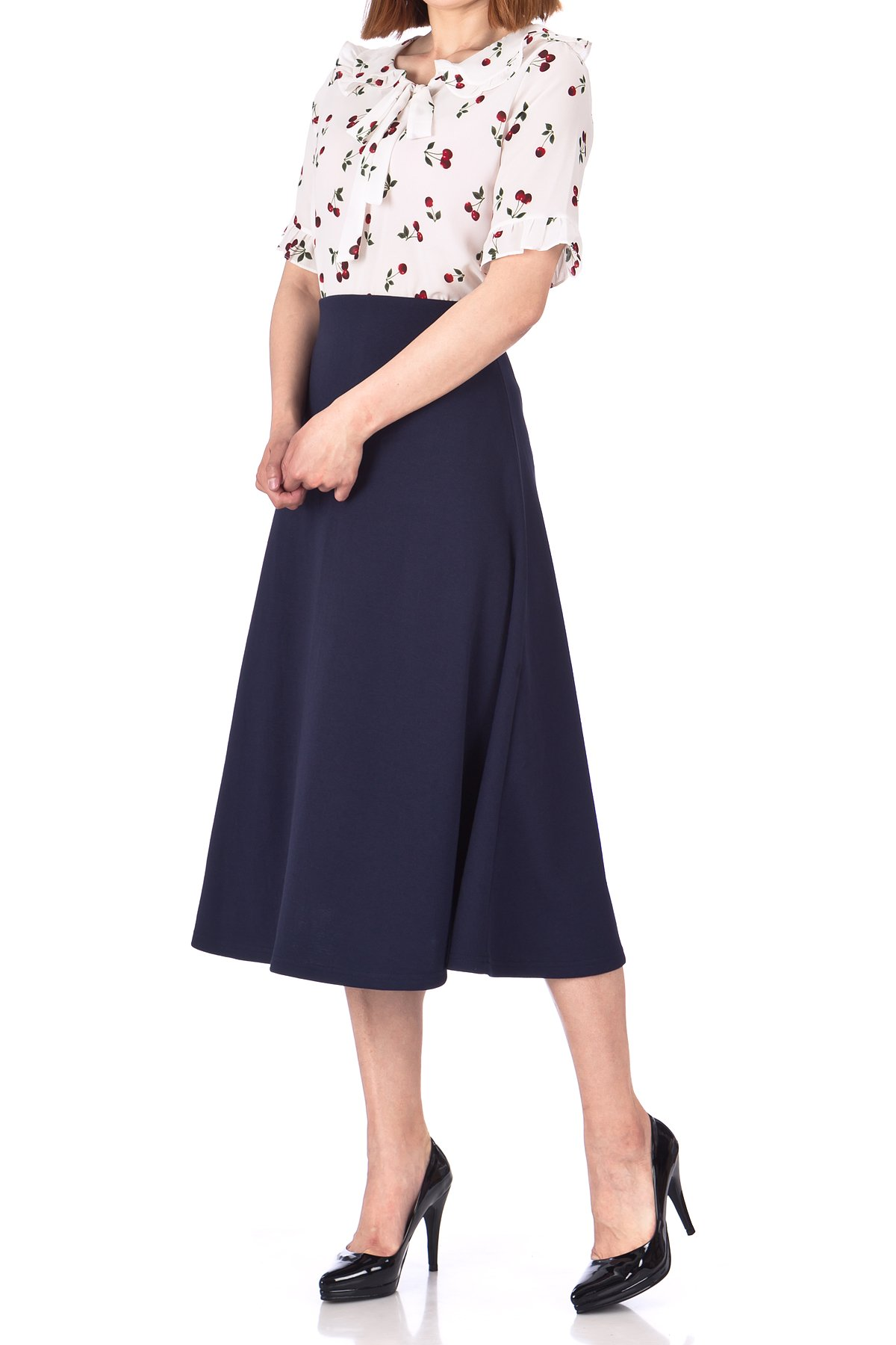 Elastic Waist A line Flared Long Skirt Navy 03