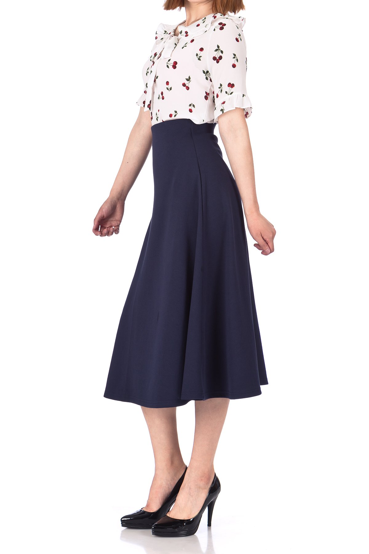 Elastic Waist A line Flared Long Skirt Navy 04