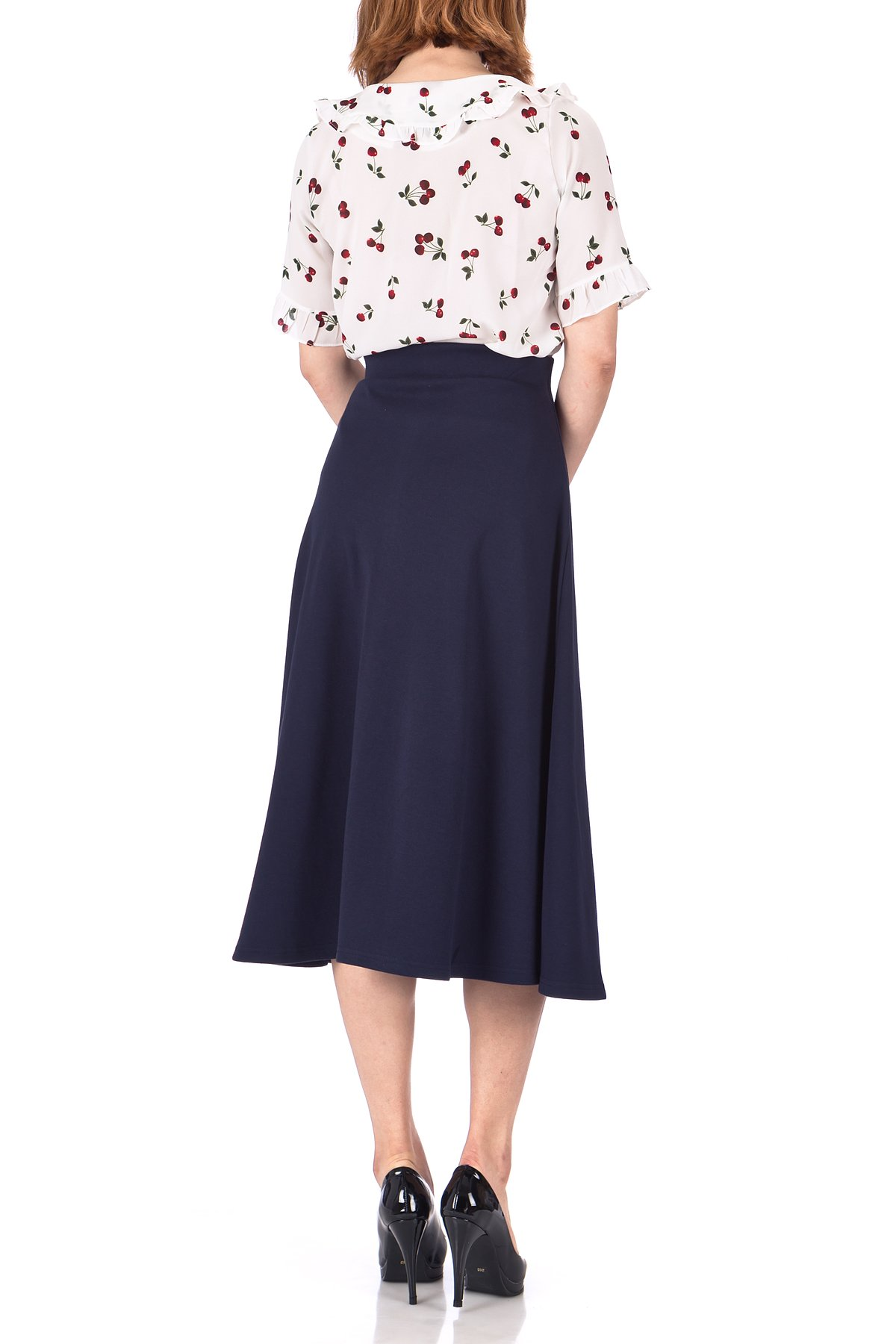 Elastic Waist A line Flared Long Skirt Navy 05 1