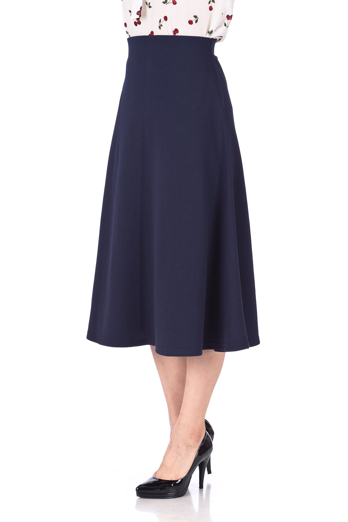 Elastic Waist A line Flared Long Skirt Navy 06