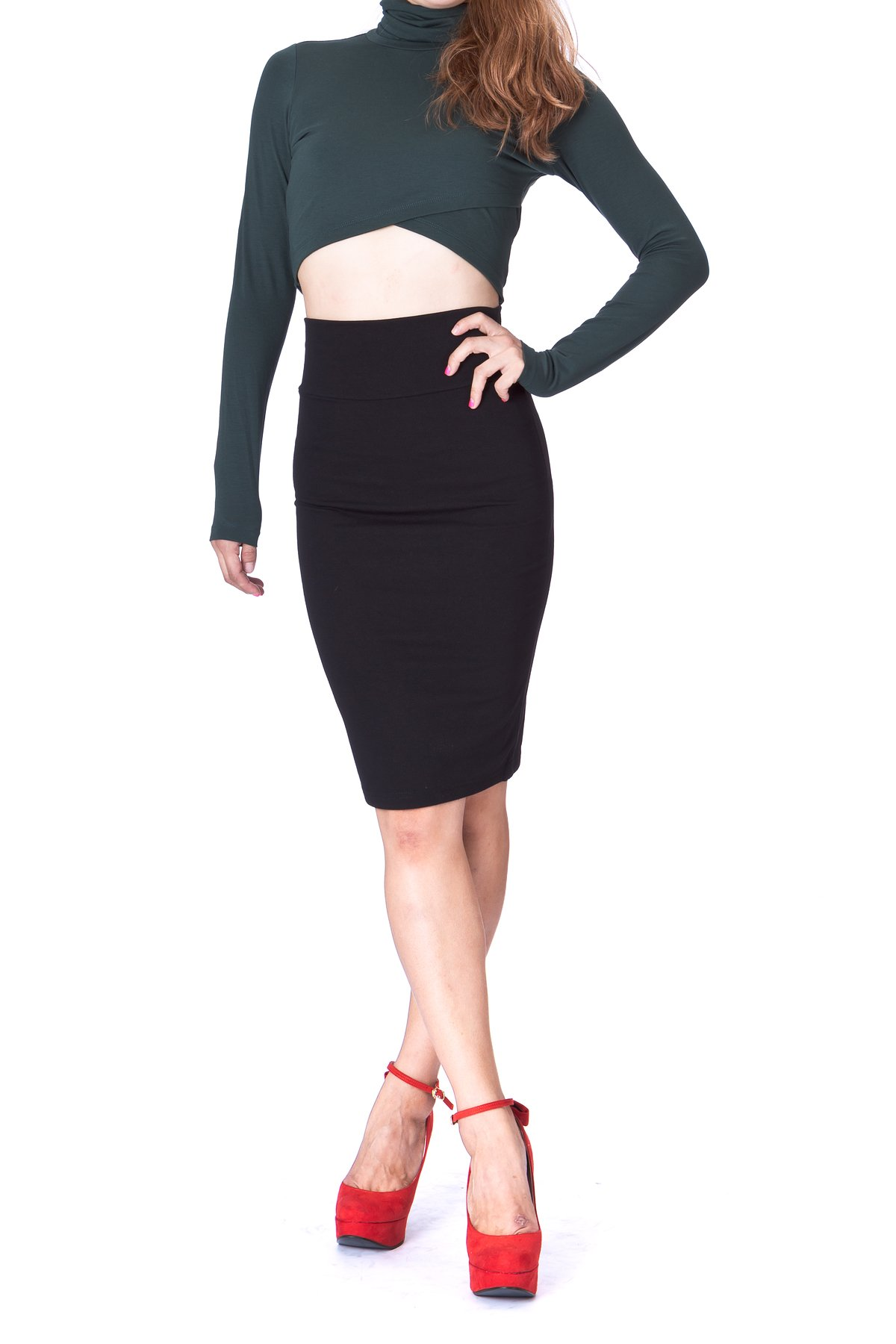Every Occasion Stretch Pull on Wide High Waist Bodycon Pencil Knee Length Midi Skirt Black 1