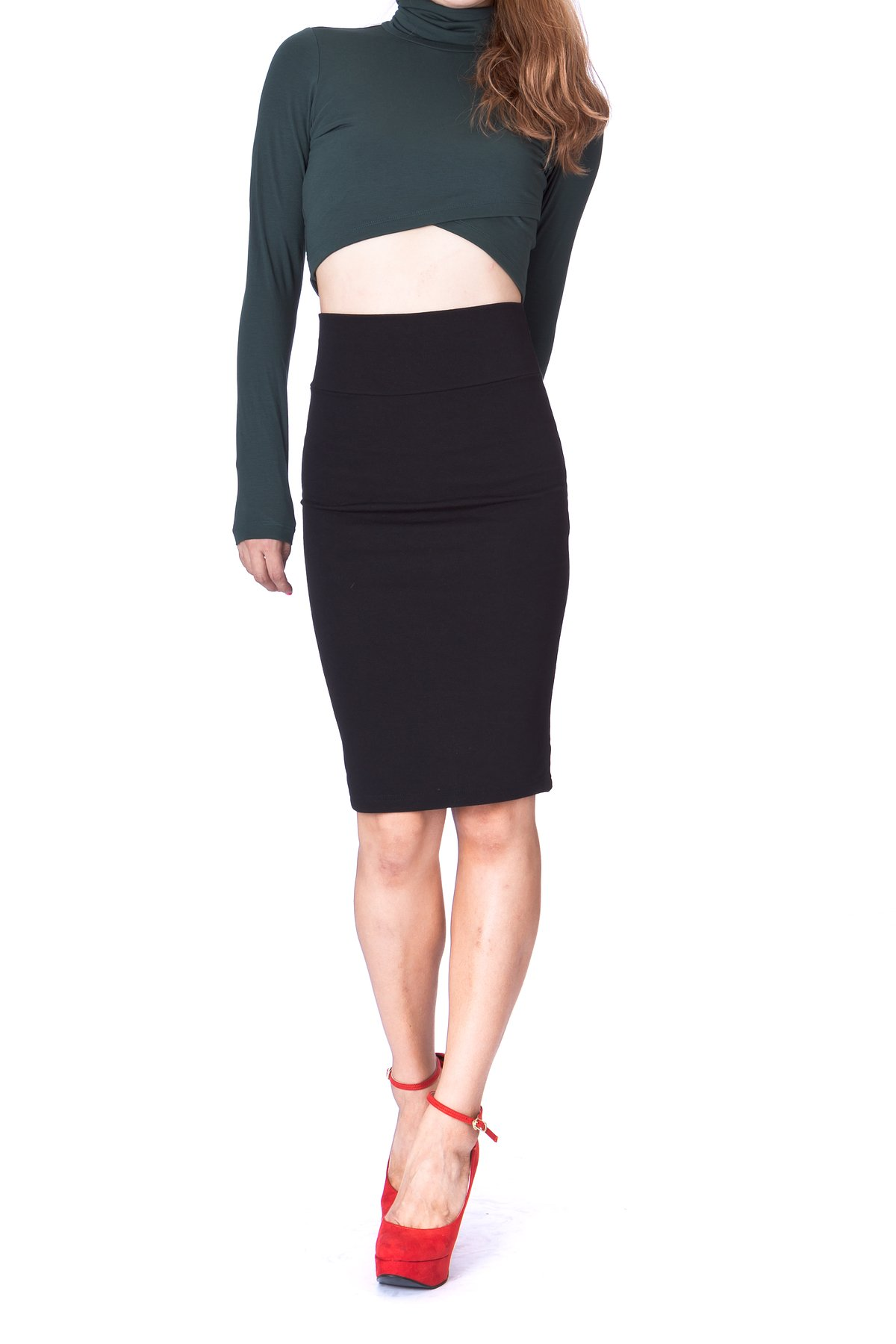 Every Occasion Stretch Pull on Wide High Waist Bodycon Pencil Knee Length Midi Skirt Black 2