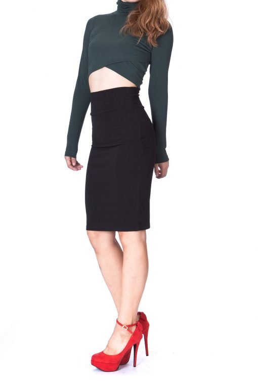 Every Occasion Stretch Pull on Wide High Waist Bodycon Pencil Knee Length Midi Skirt Black 3 1