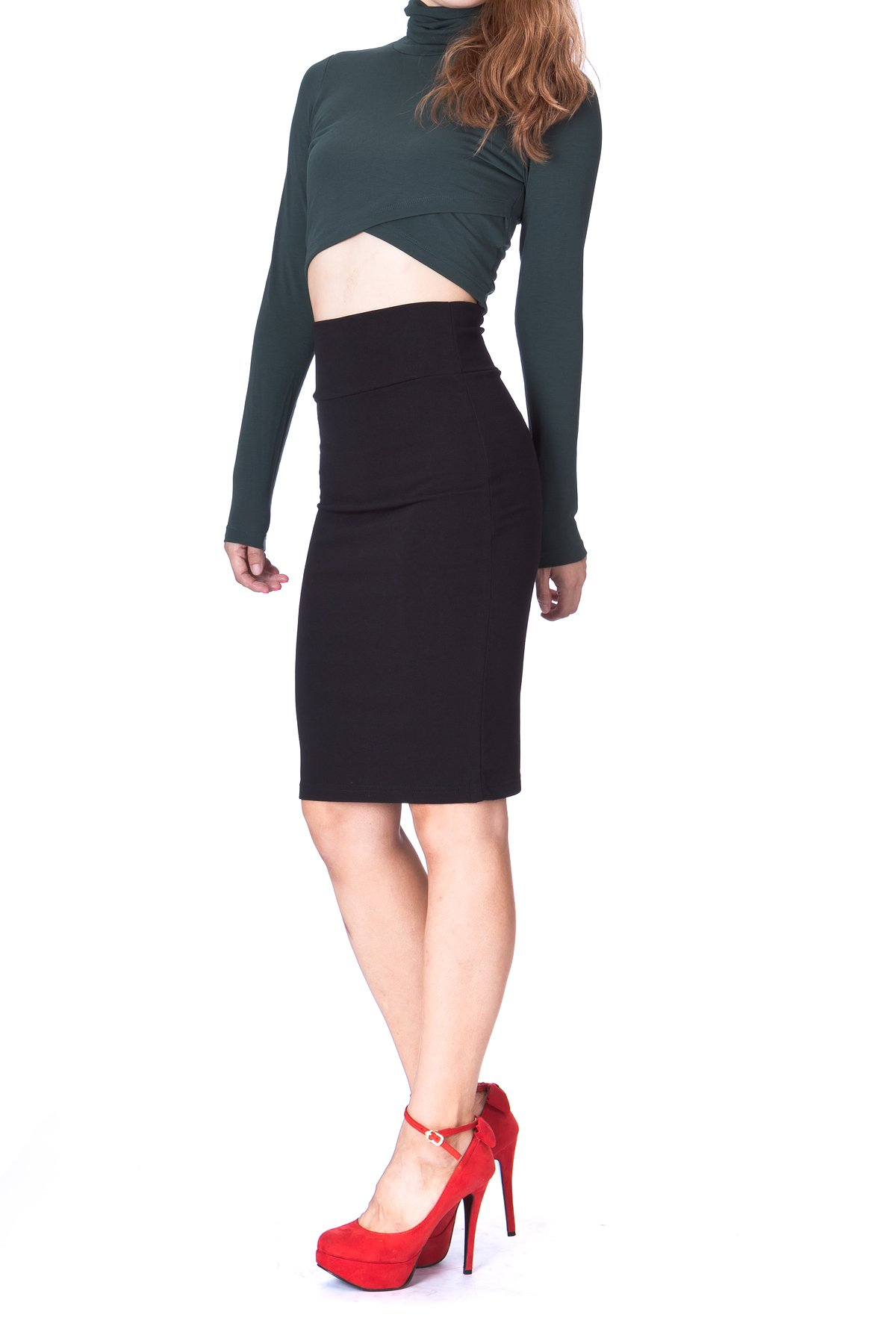 Every Occasion Stretch Pull on Wide High Waist Bodycon Pencil Knee Length Midi Skirt Black 3