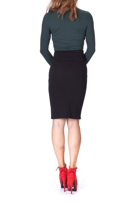 Every Occasion Stretch Pull on Wide High Waist Bodycon Pencil Knee Length Midi Skirt Black 4 1
