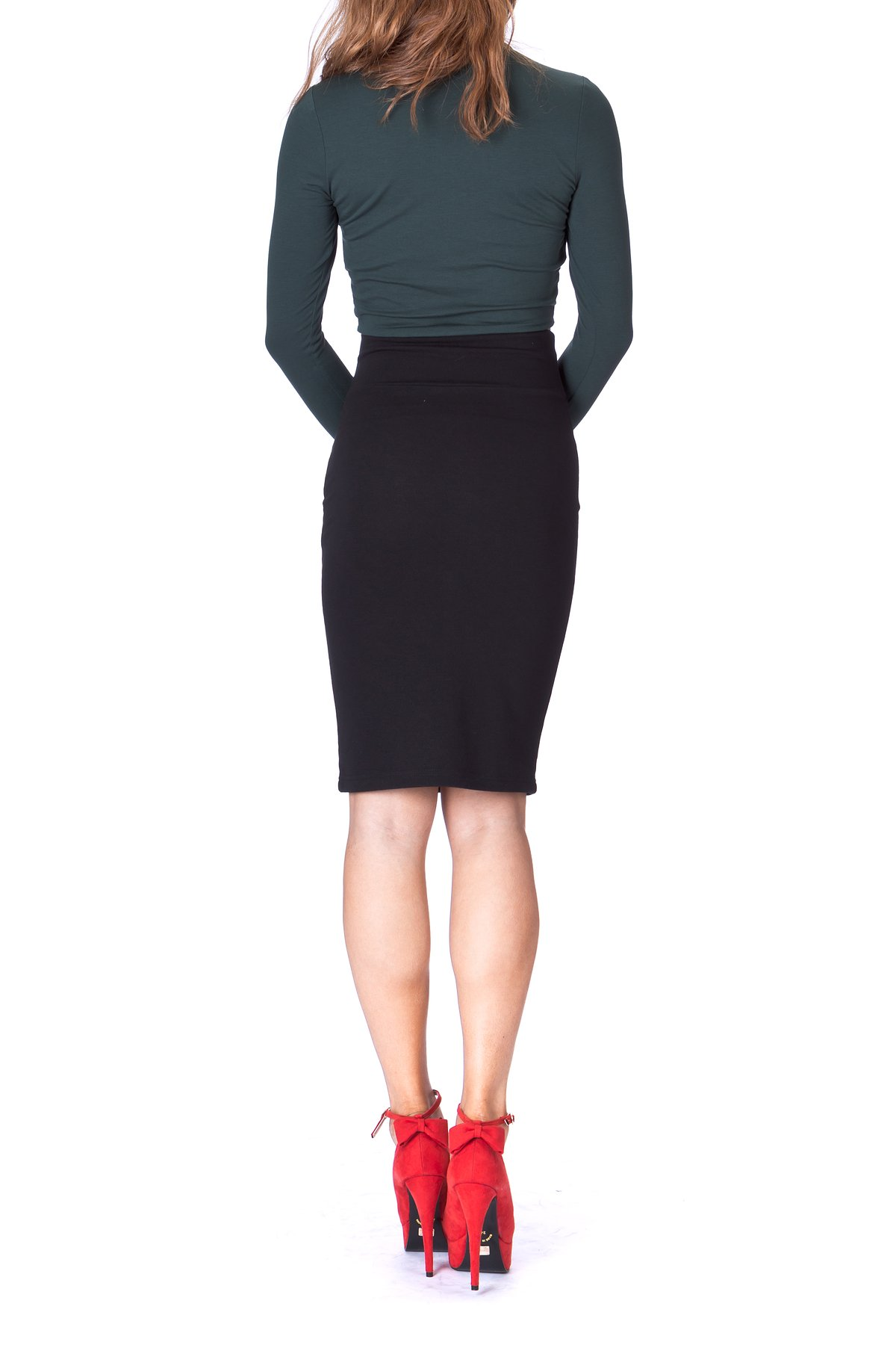 Every Occasion Stretch Pull on Wide High Waist Bodycon Pencil Knee Length Midi Skirt Black 4