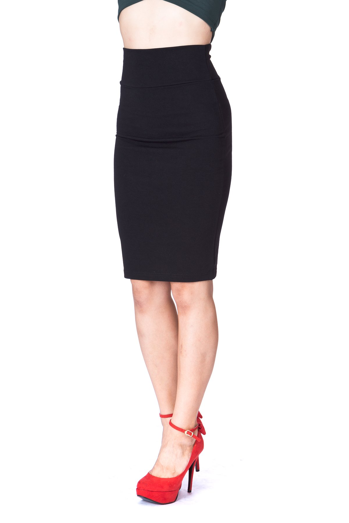 Every Occasion Stretch Pull on Wide High Waist Bodycon Pencil Knee Length Midi Skirt Black 5