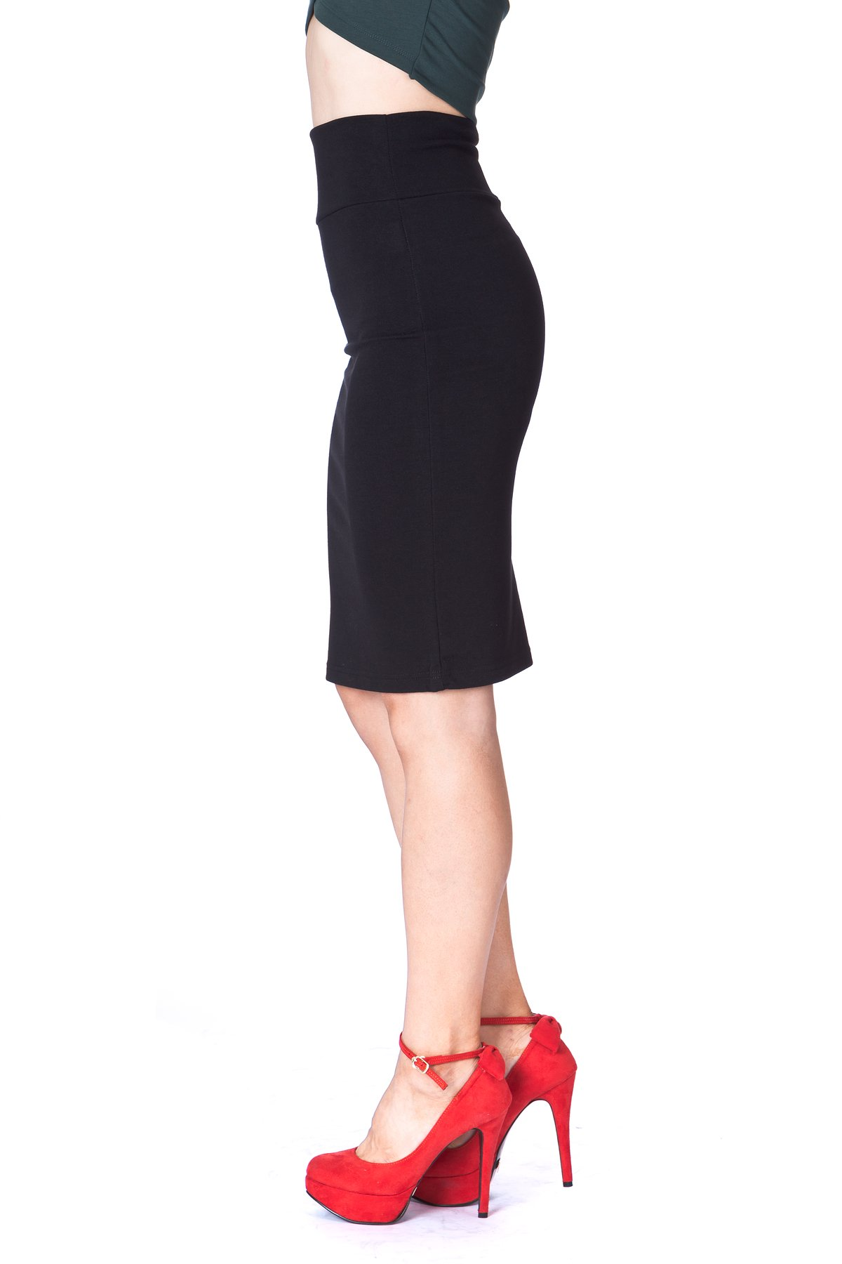 Every Occasion Stretch Pull on Wide High Waist Bodycon Pencil Knee Length Midi Skirt Black 6