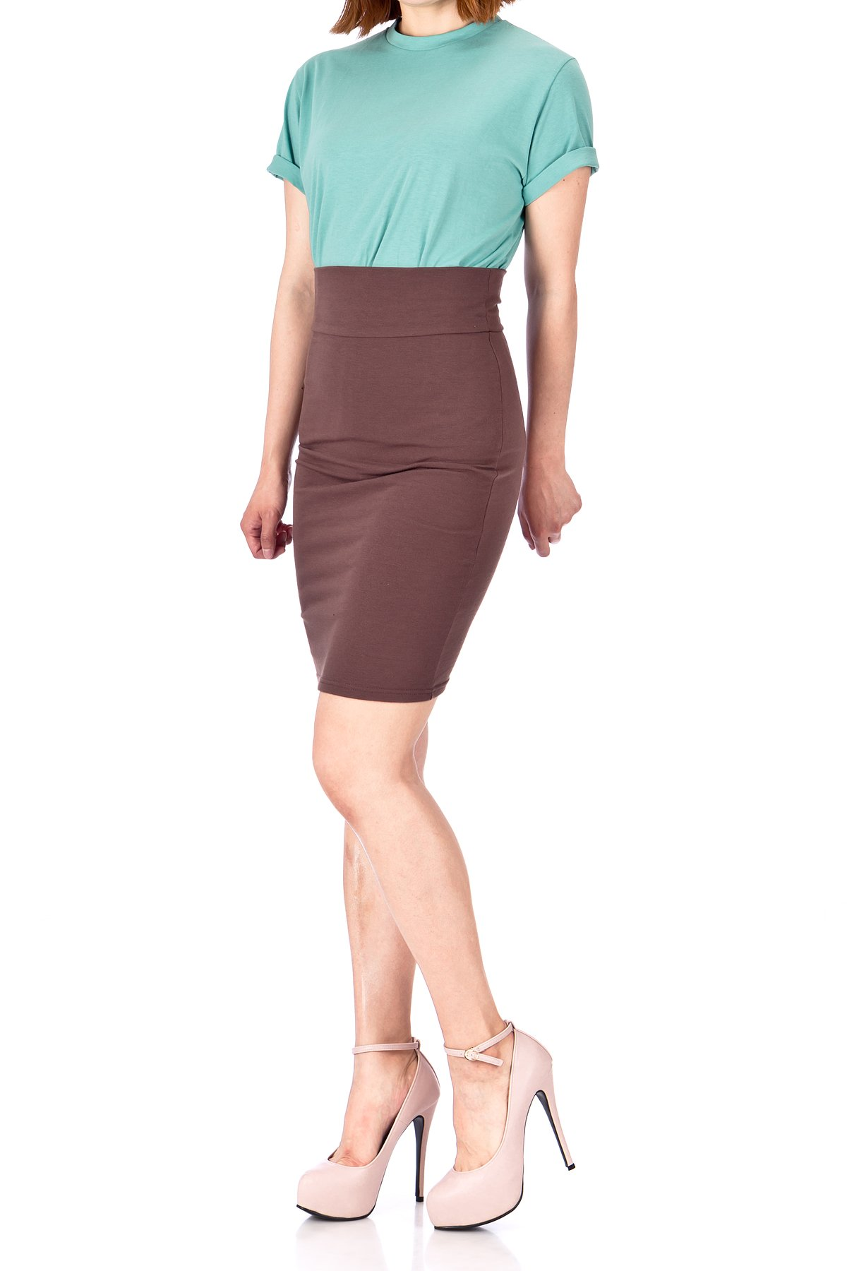 Every Occasion Stretch Pull on Wide High Waist Bodycon Pencil Knee Length Midi Skirt Brown 01