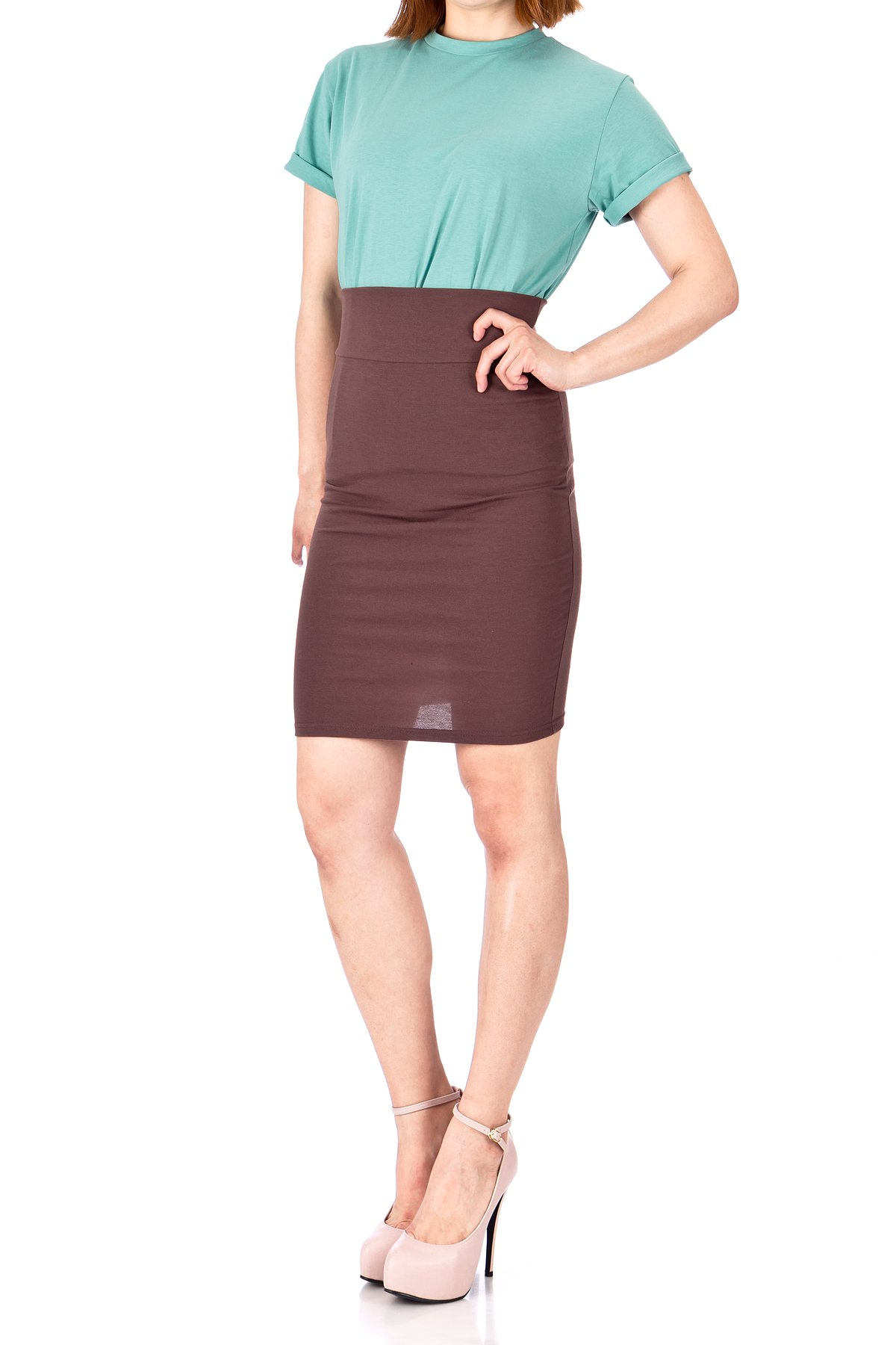 Every Occasion Stretch Pull on Wide High Waist Bodycon Pencil Knee Length Midi Skirt Brown 02