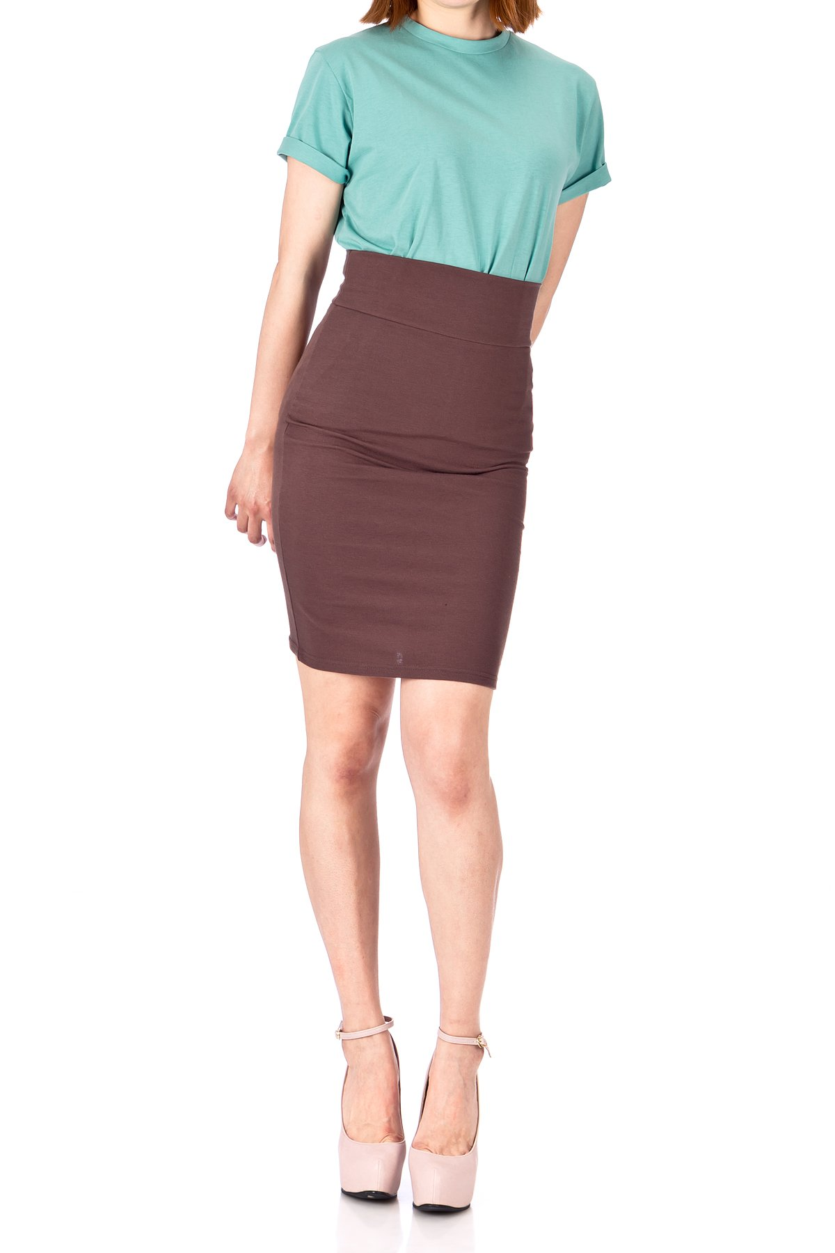 Every Occasion Stretch Pull on Wide High Waist Bodycon Pencil Knee Length Midi Skirt Brown 03