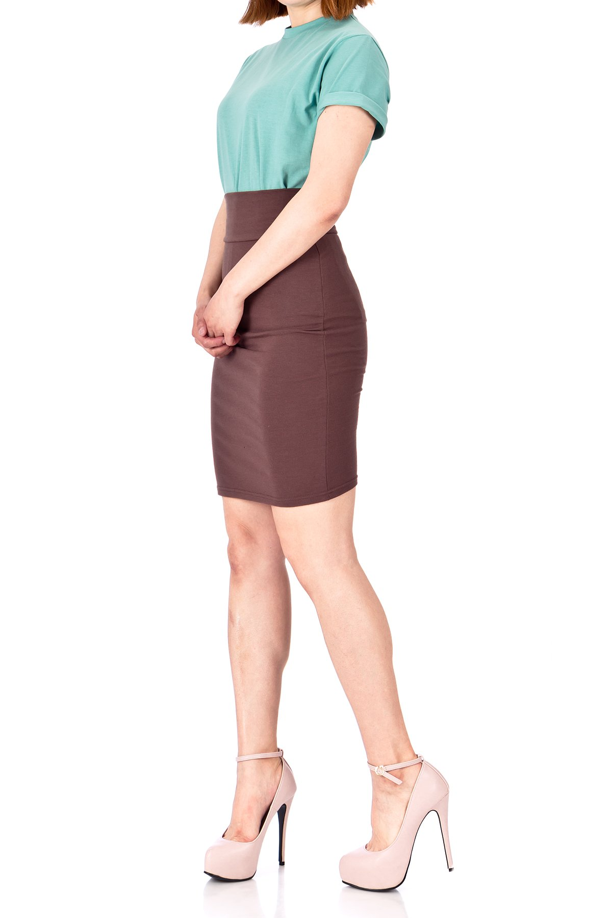 Every Occasion Stretch Pull on Wide High Waist Bodycon Pencil Knee Length Midi Skirt Brown 04