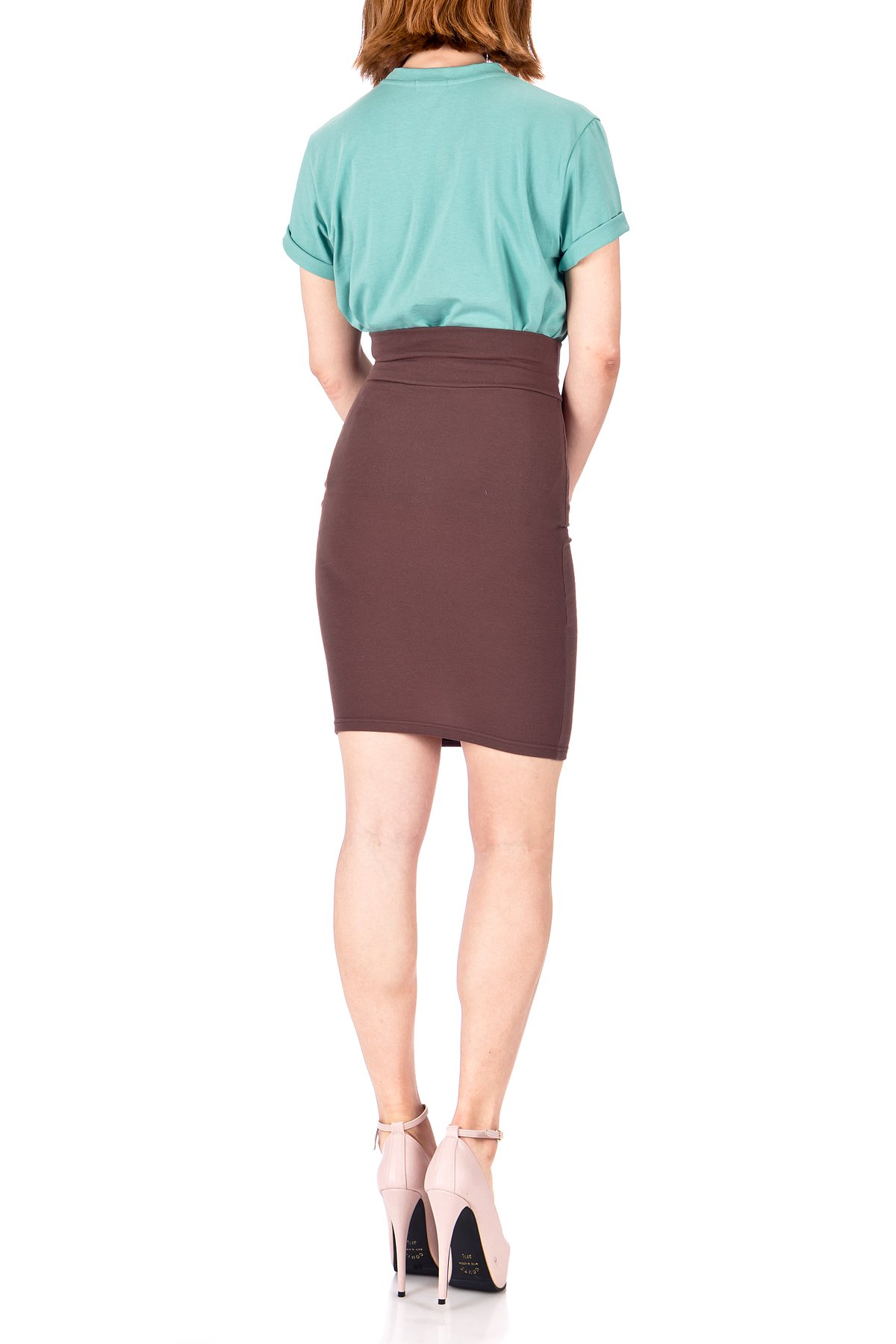 Every Occasion Stretch Pull on Wide High Waist Bodycon Pencil Knee Length Midi Skirt Brown 05