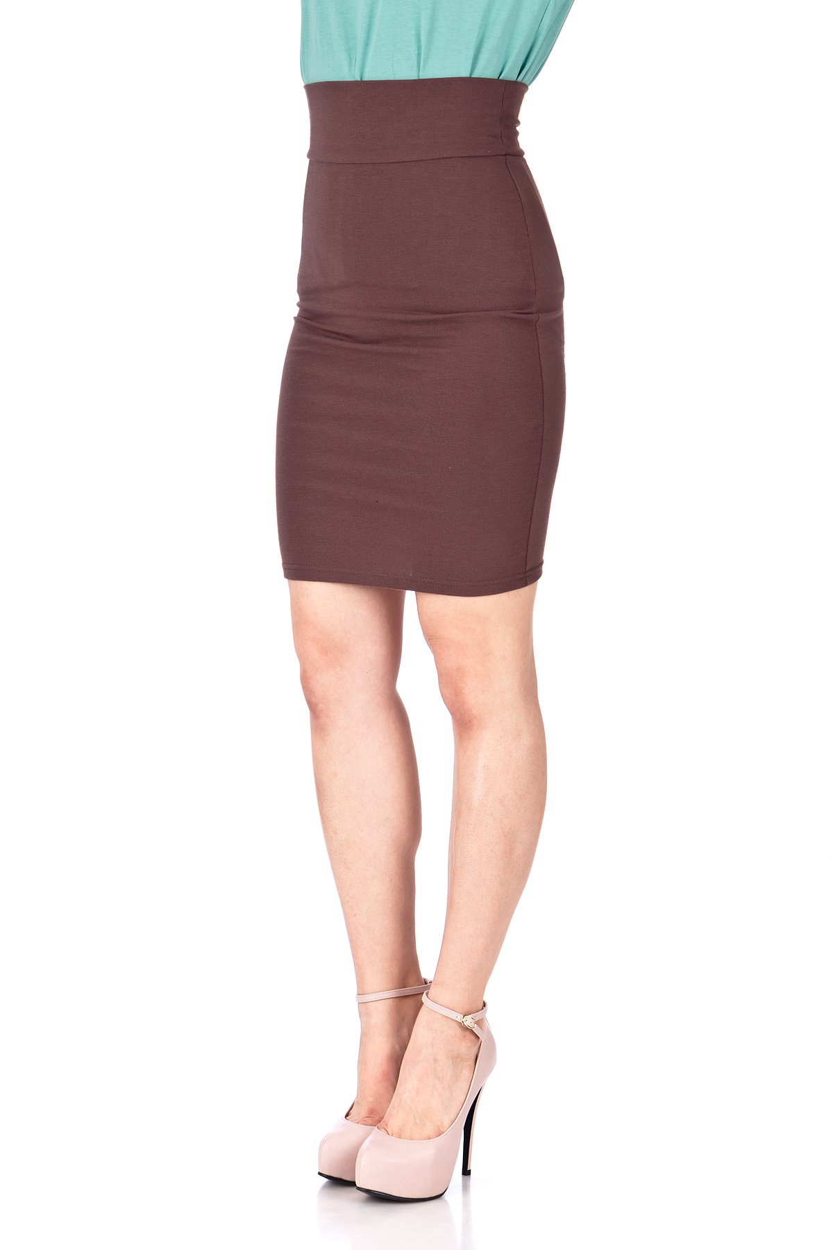 Every Occasion Stretch Pull on Wide High Waist Bodycon Pencil Knee Length Midi Skirt Brown 06