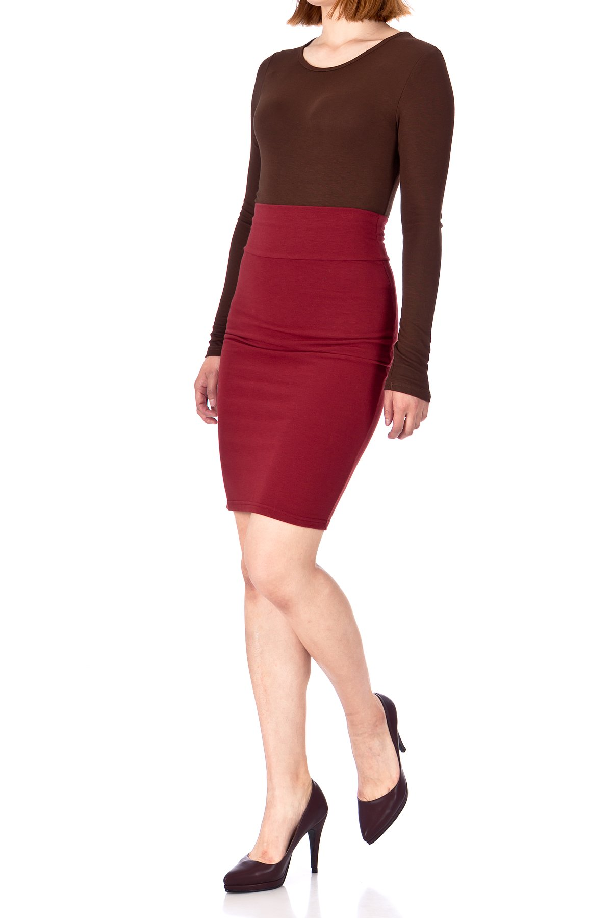 Every Occasion Stretch Pull on Wide High Waist Bodycon Pencil Knee Length Midi Skirt Burgundy 01