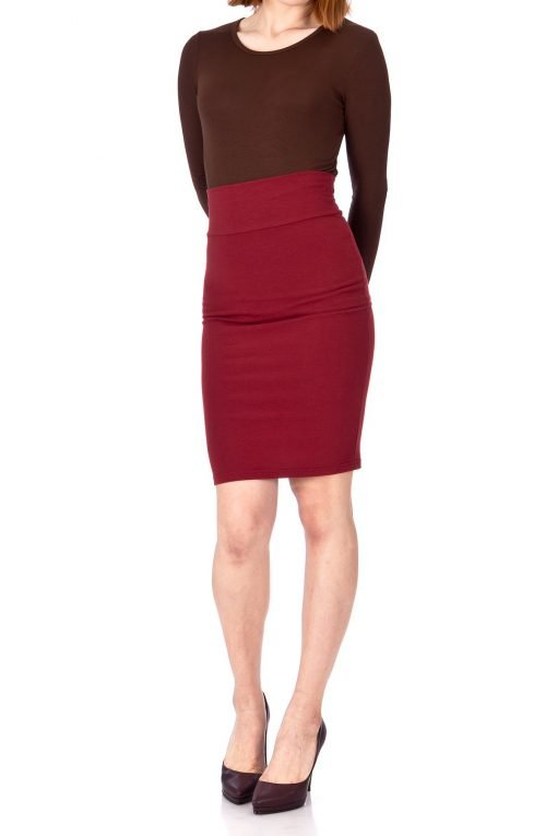 Every Occasion Stretch Pull on Wide High Waist Bodycon Pencil Knee Length Midi Skirt Burgundy 02 1