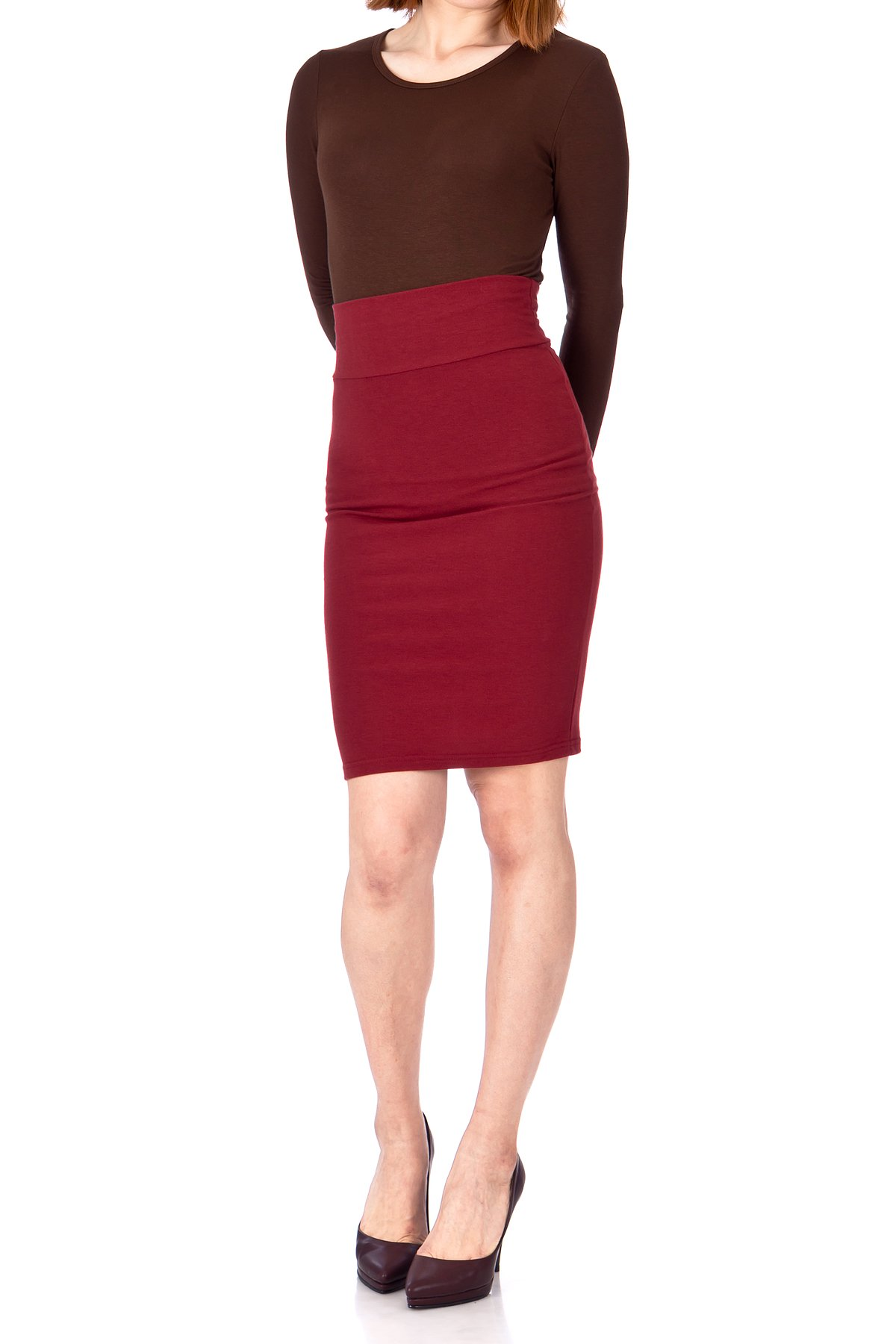 Every Occasion Stretch Pull on Wide High Waist Bodycon Pencil Knee Length Midi Skirt Burgundy 02