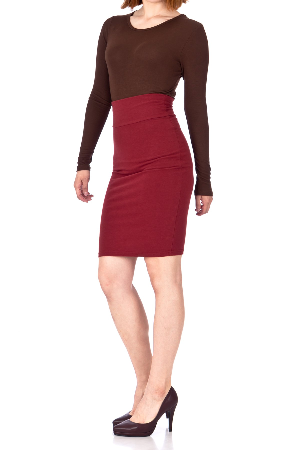 Every Occasion Stretch Pull on Wide High Waist Bodycon Pencil Knee Length Midi Skirt Burgundy 03