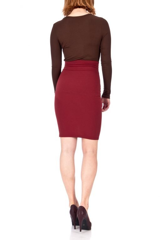Every Occasion Stretch Pull on Wide High Waist Bodycon Pencil Knee Length Midi Skirt Burgundy 04 1