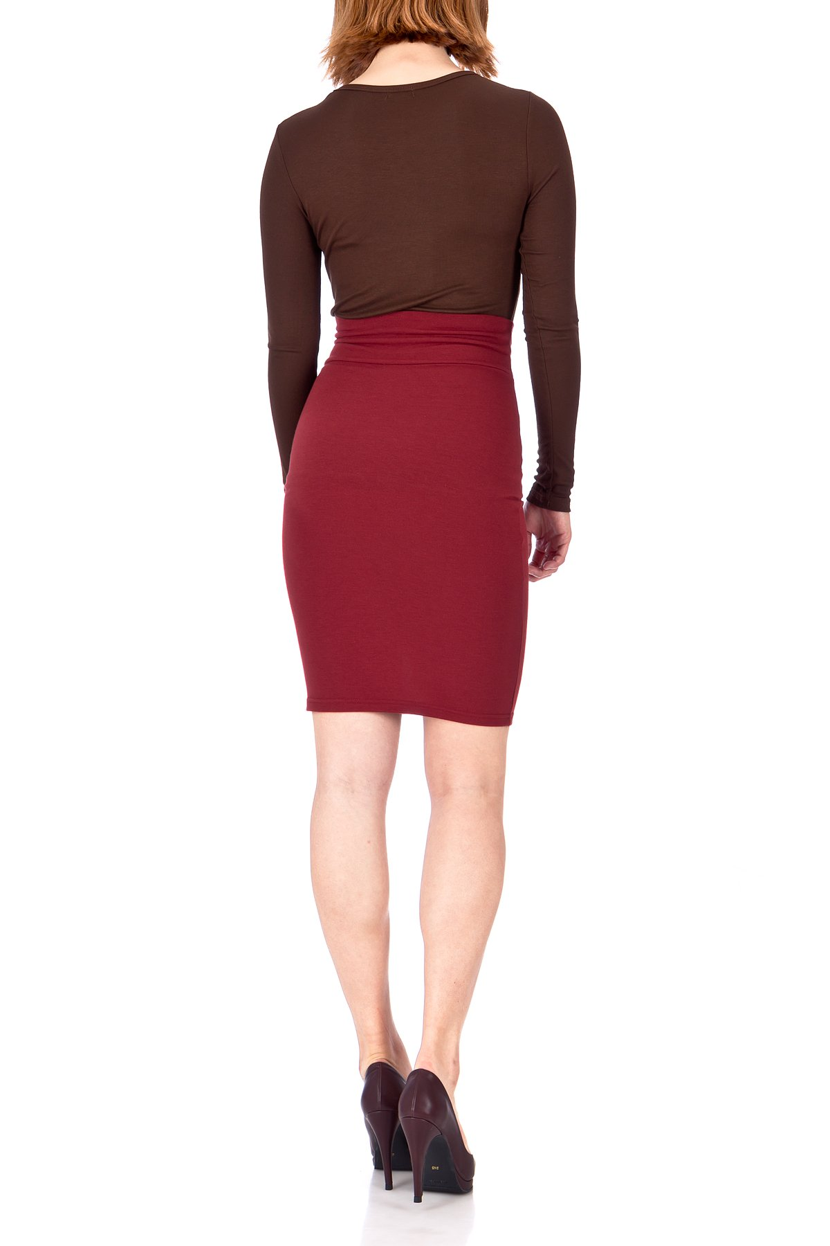 Every Occasion Stretch Pull on Wide High Waist Bodycon Pencil Knee Length Midi Skirt Burgundy 04