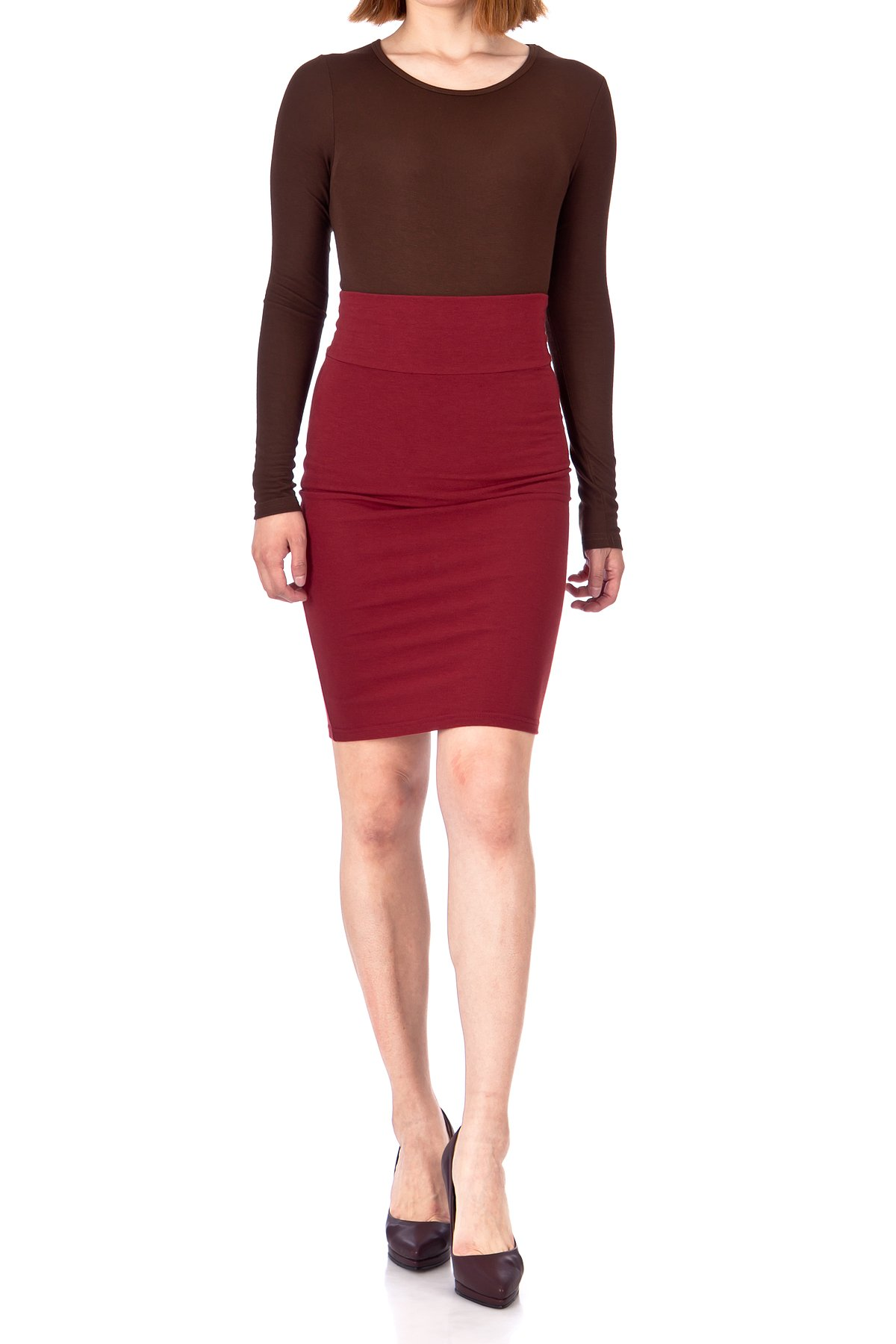 Every Occasion Stretch Pull on Wide High Waist Bodycon Pencil Knee Length Midi Skirt Burgundy 05