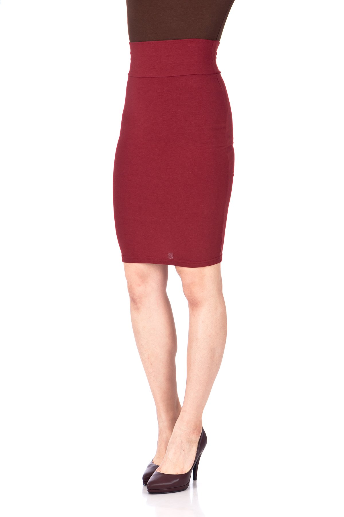 Every Occasion Stretch Pull on Wide High Waist Bodycon Pencil Knee Length Midi Skirt Burgundy 06