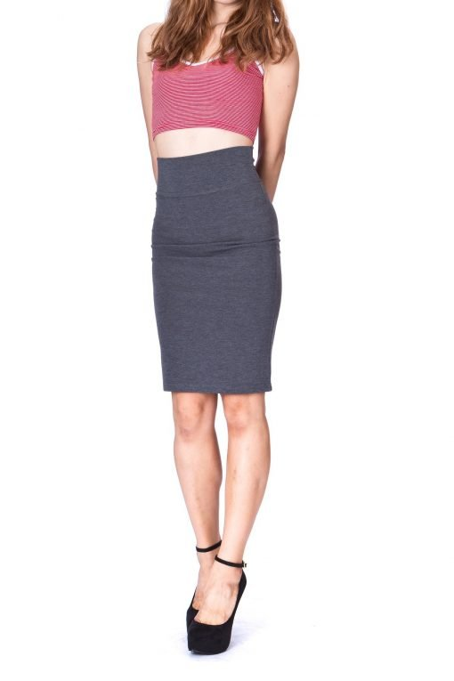 Every Occasion Stretch Pull on Wide High Waist Bodycon Pencil Knee Length Midi Skirt Charcoal 1 1