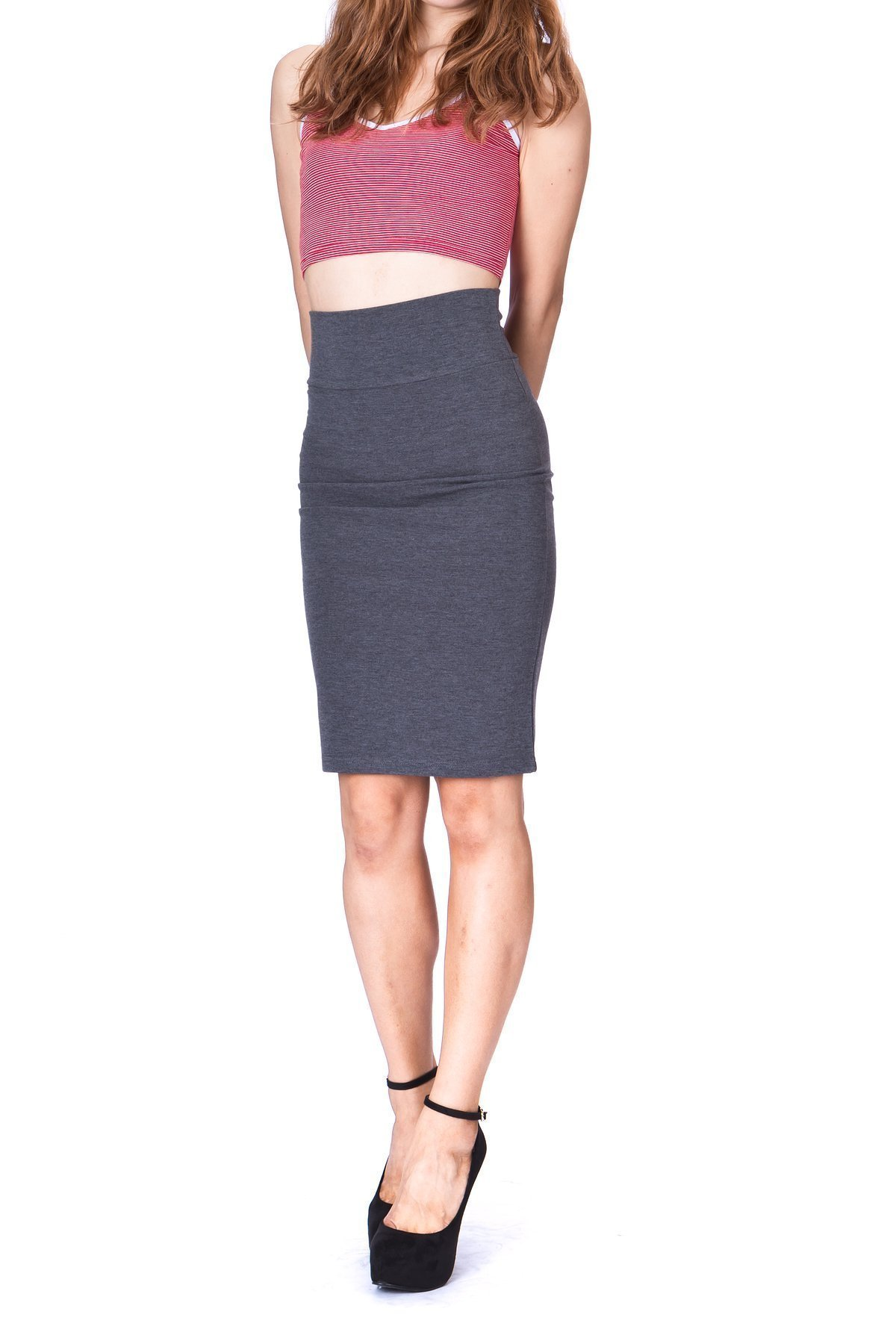 Every Occasion Stretch Pull on Wide High Waist Bodycon Pencil Knee Length Midi Skirt Charcoal 1